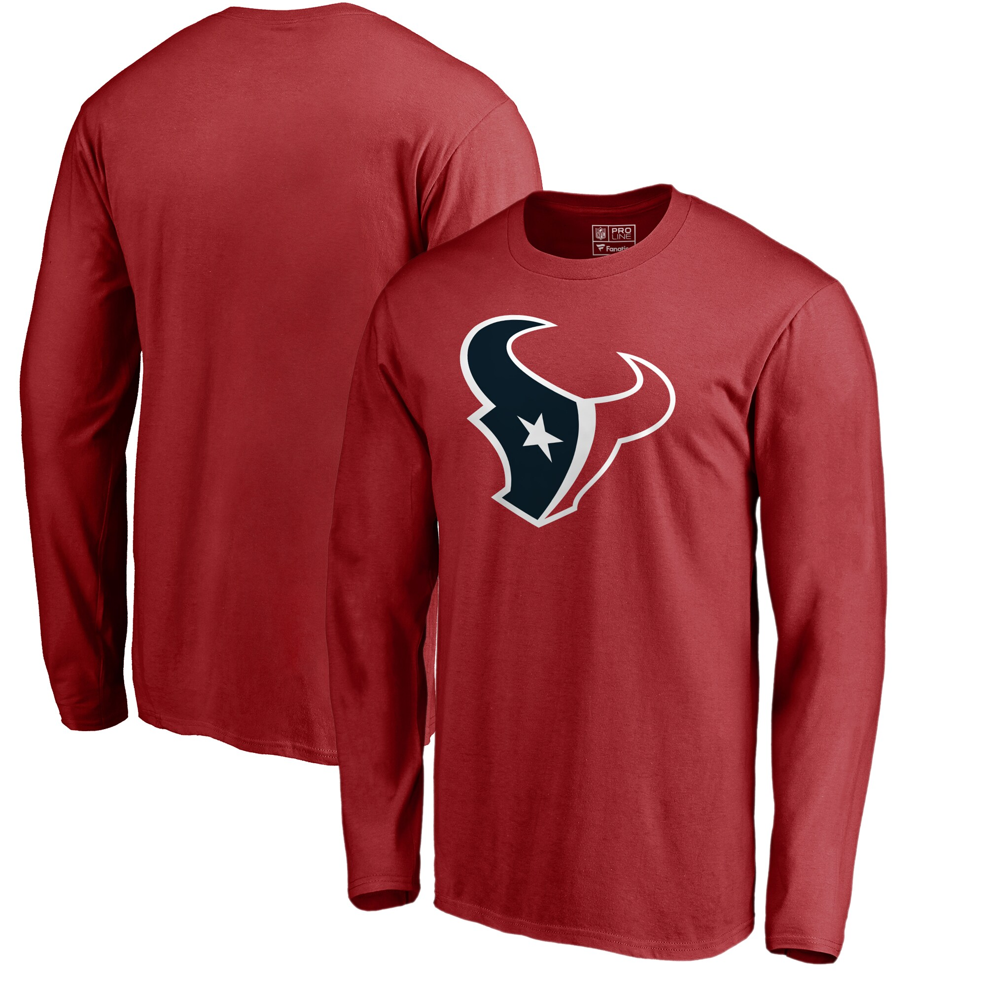 Houston Texans NFL Pro Line by Fanatics Branded Primary Logo Long-Sleeve T-Shirt - Red