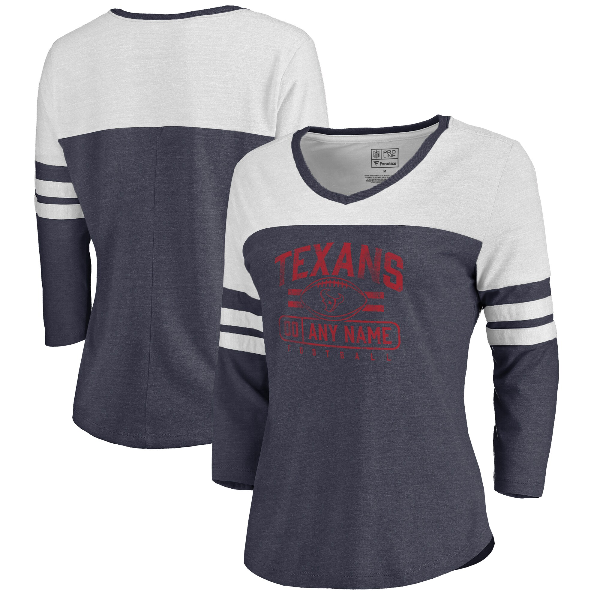Houston Texans NFL Pro Line by Fanatics Branded Women's Personalized Flanker Three-Quarter Sleeve Tri-Blend T-Shirt - Navy