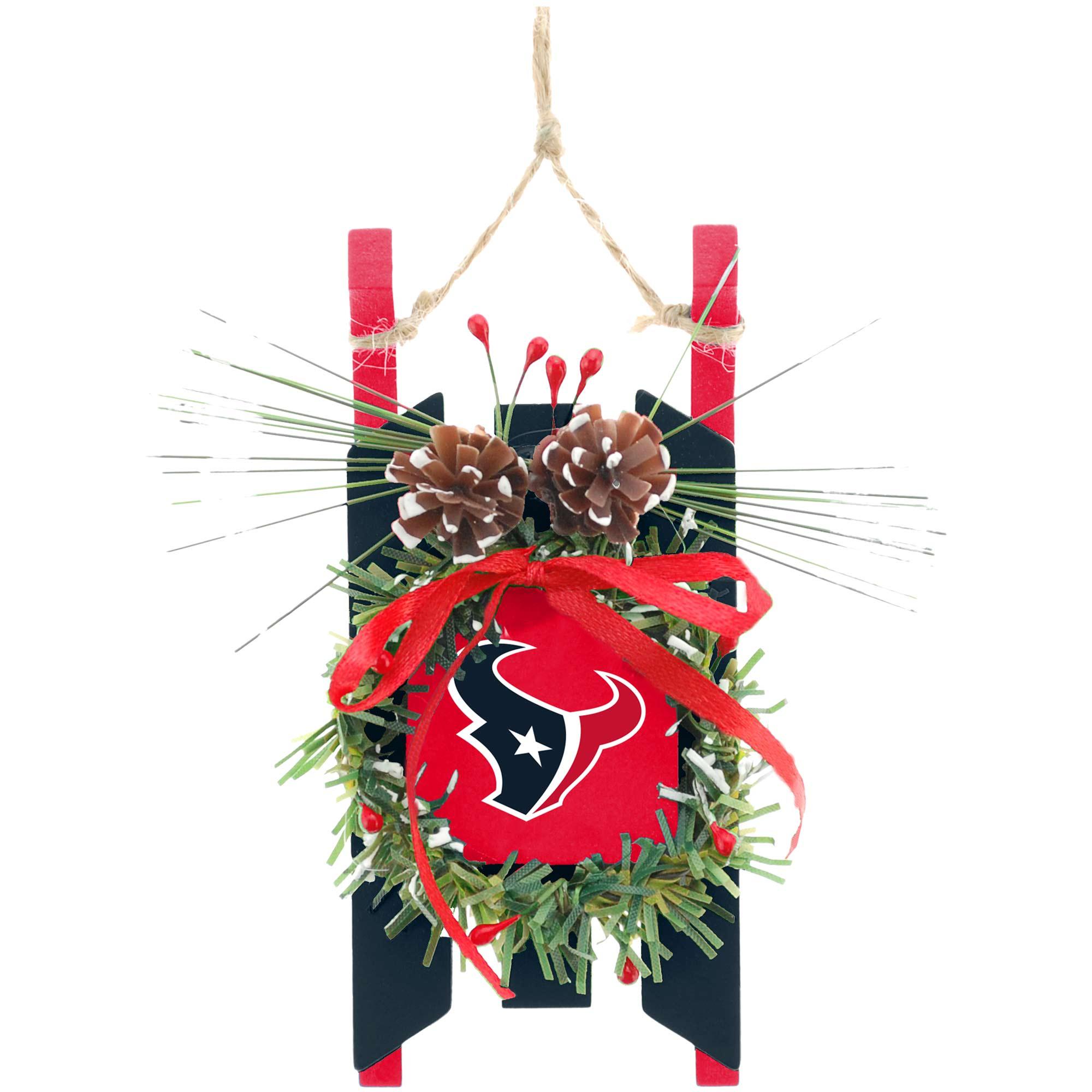 Houston Texans Wood Sled Ornament