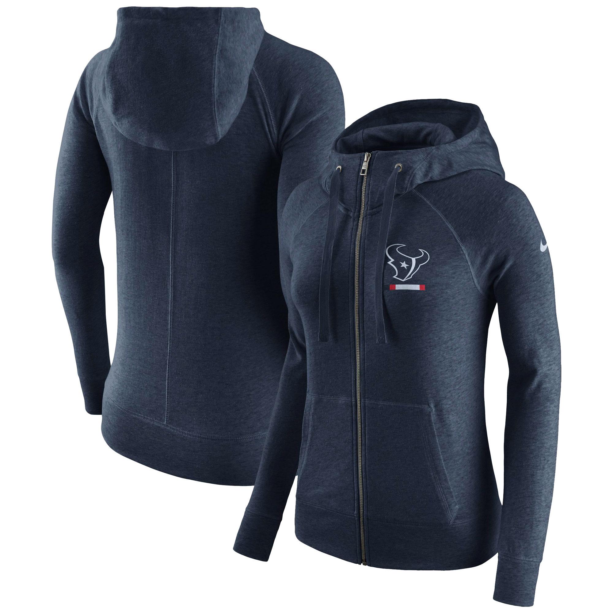 Houston Texans Nike Women's Gym Vintage Full-Zip Hoodie - Navy
