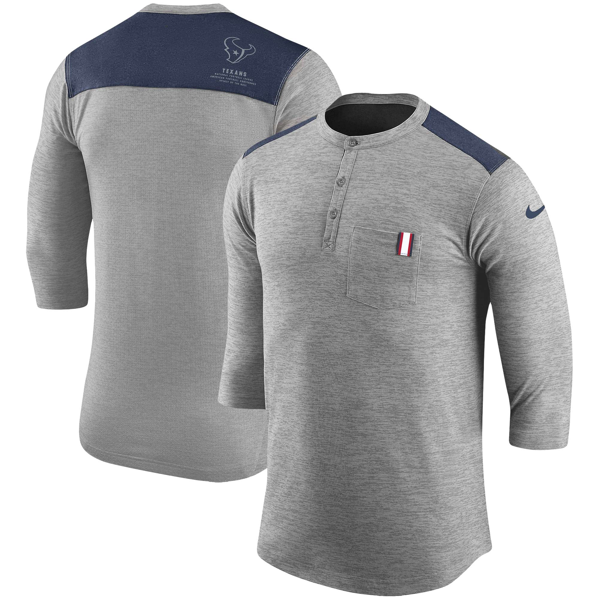 Houston Texans Nike Performance Henley 3/4-Sleeve T-Shirt - Heathered Gray/Navy