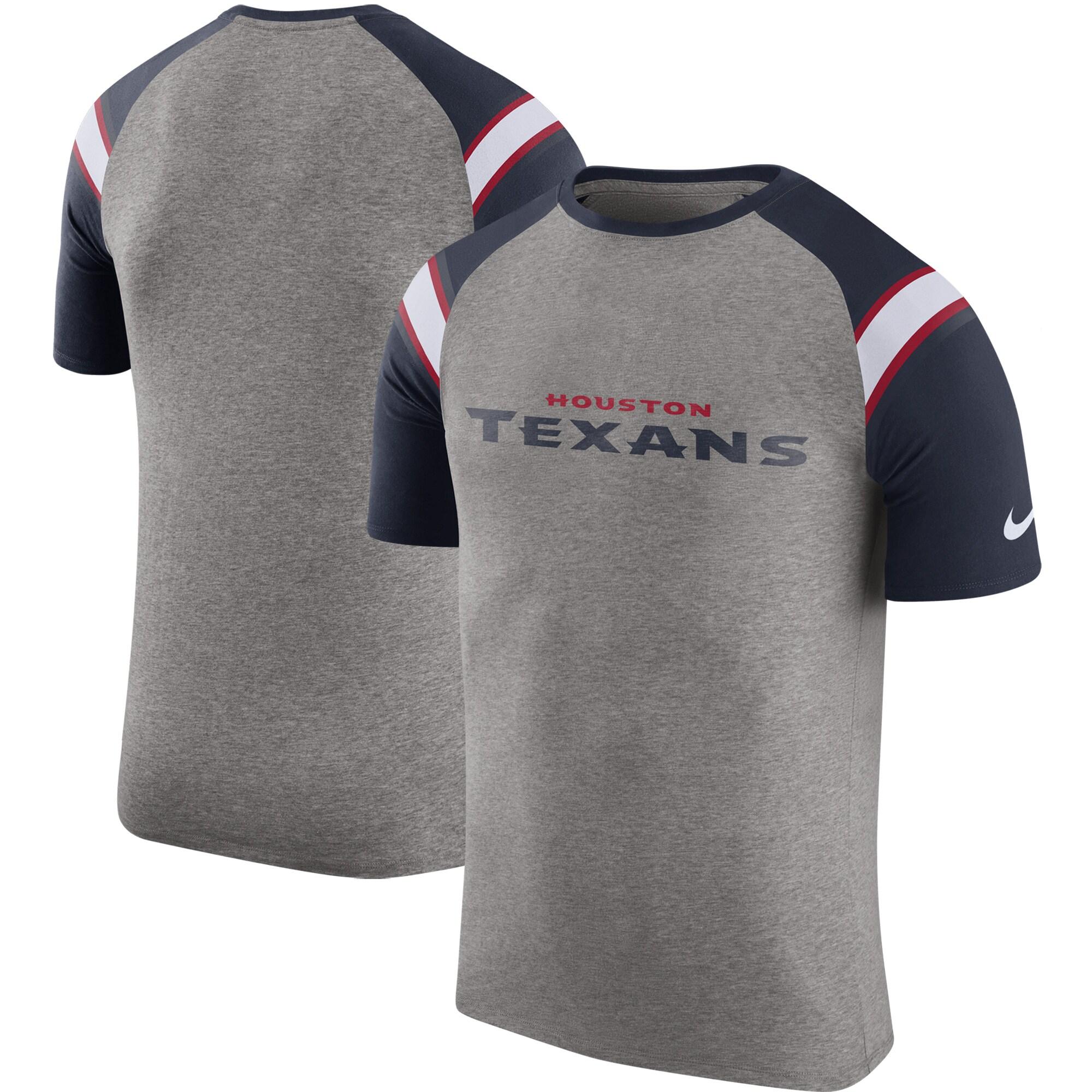 Houston Texans Nike Enzyme Shoulder Stripe Raglan T-Shirt - Heathered Gray