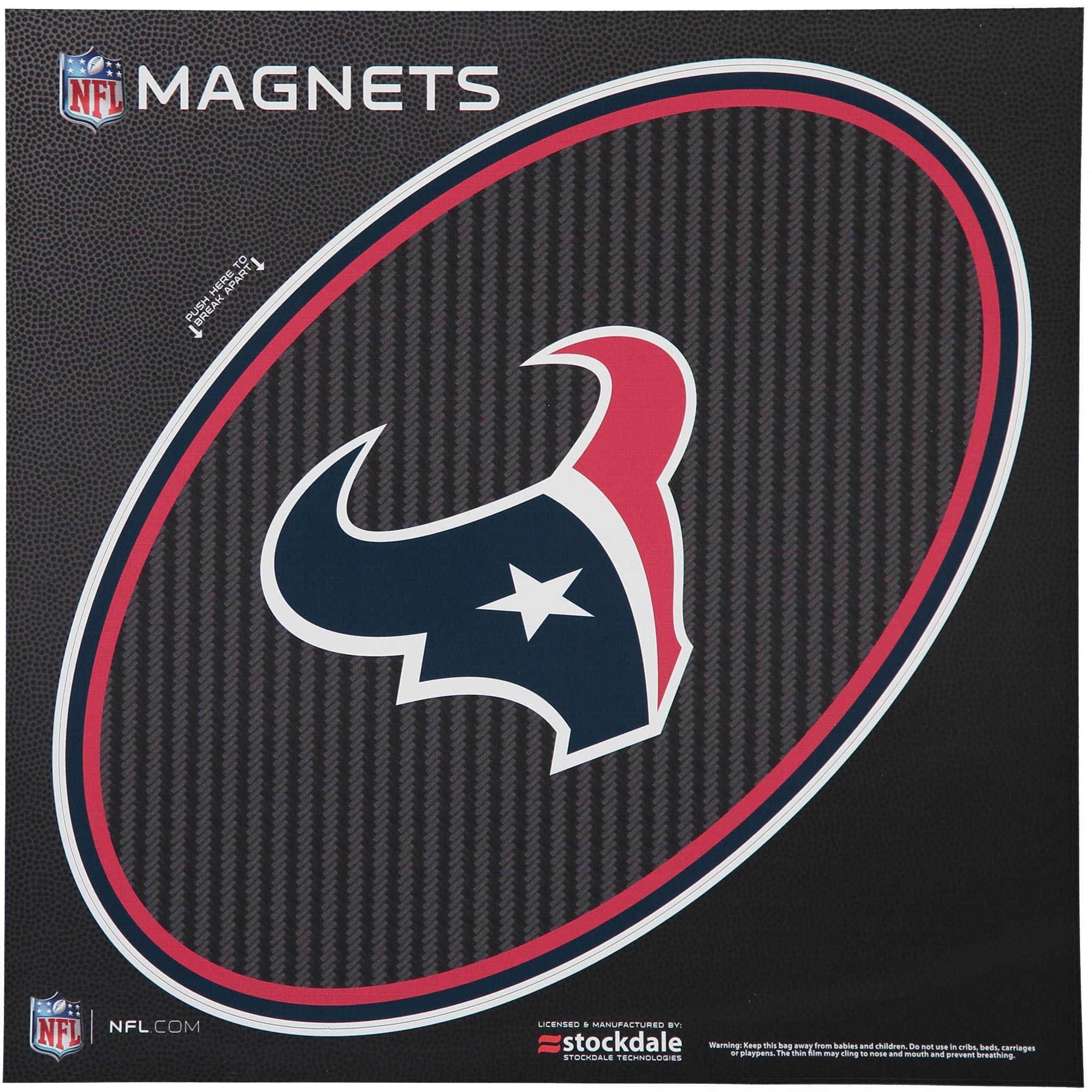 """Houston Texans Carbon 12"""" x 12"""" Oval Full Color Magnet"""