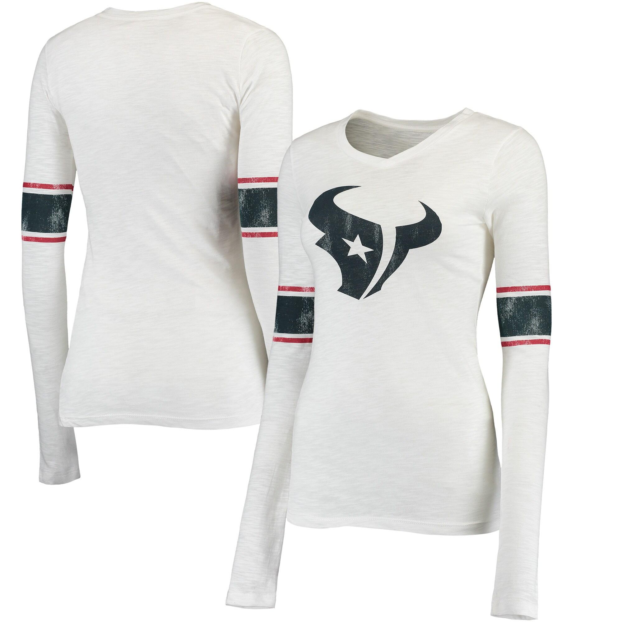 Houston Texans Juniors Team Leader V-Neck Long Sleeve T-Shirt - White