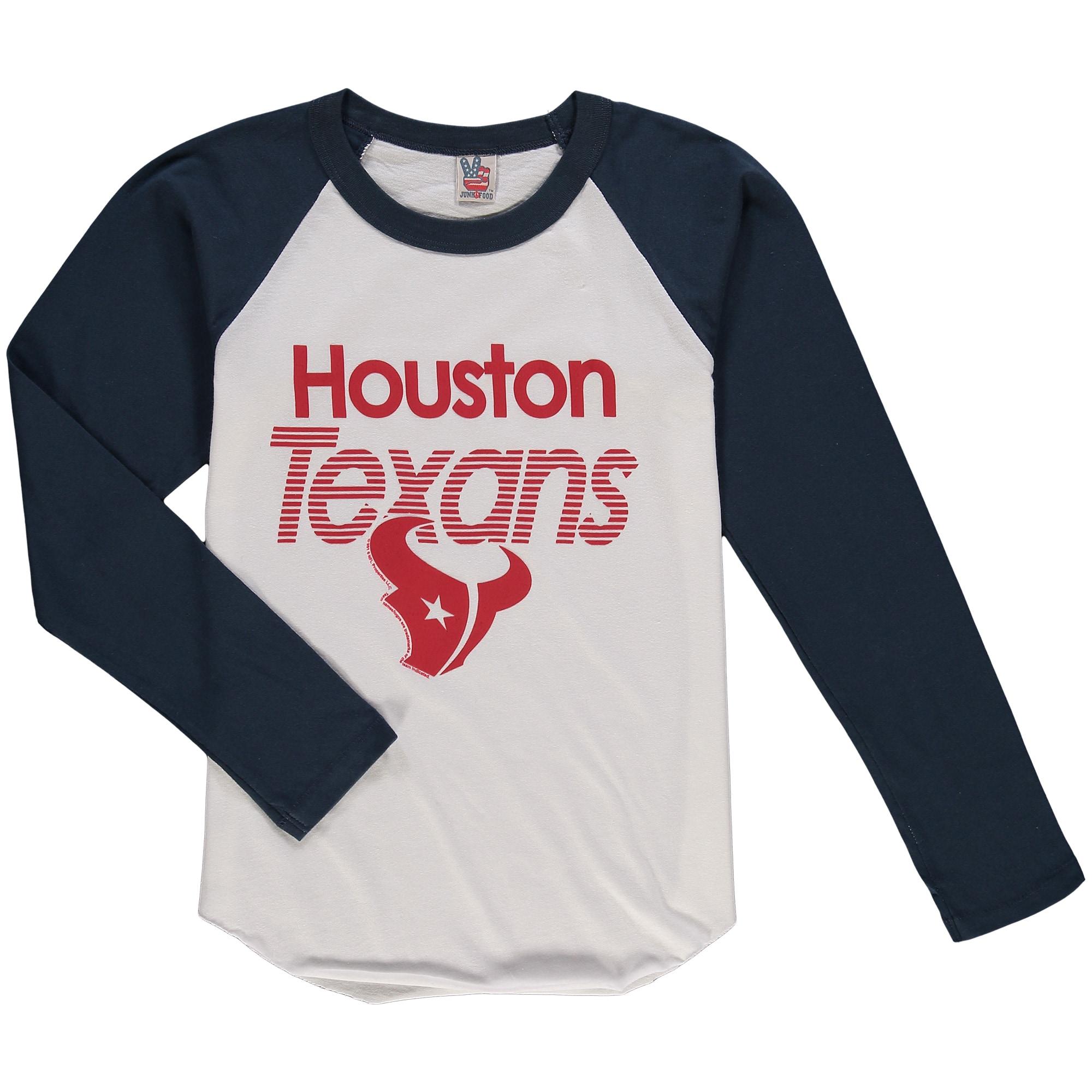 Houston Texans Junk Food Youth All American Long Sleeve Raglan T-Shirt - White/Navy