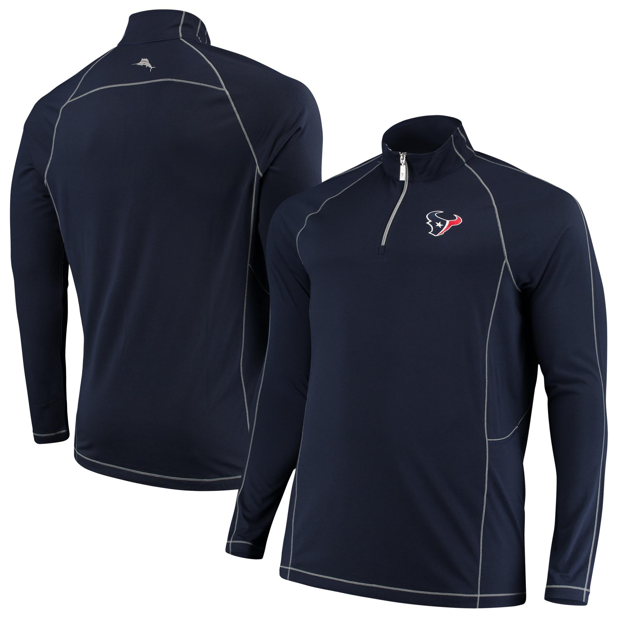 Houston Texans Tommy Bahama Big & Tall Goal Keeper Raglan Quarter-Zip Pullover Sweater - Navy