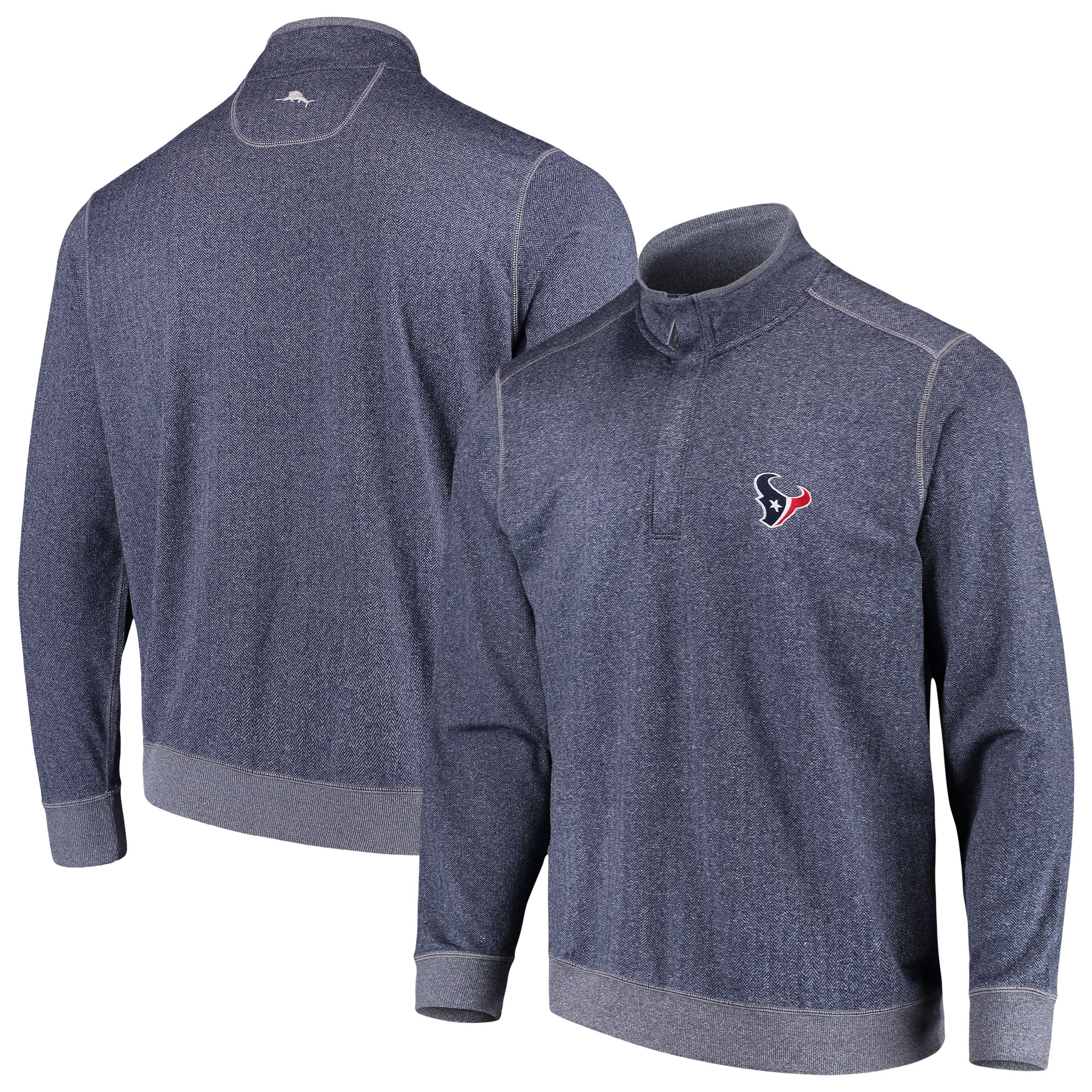 Houston Texans Tommy Bahama ProFormance Half-Zip Pullover Jacket - Heathered Navy