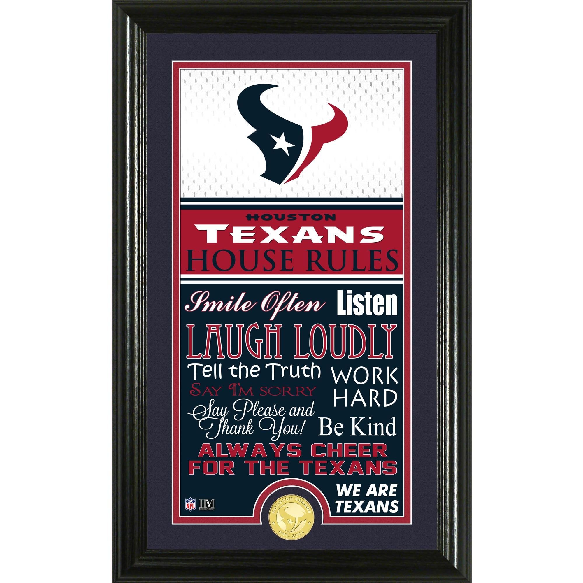 Houston Texans Highland Mint 12'' x 20'' House Rules Supreme Photo Mint