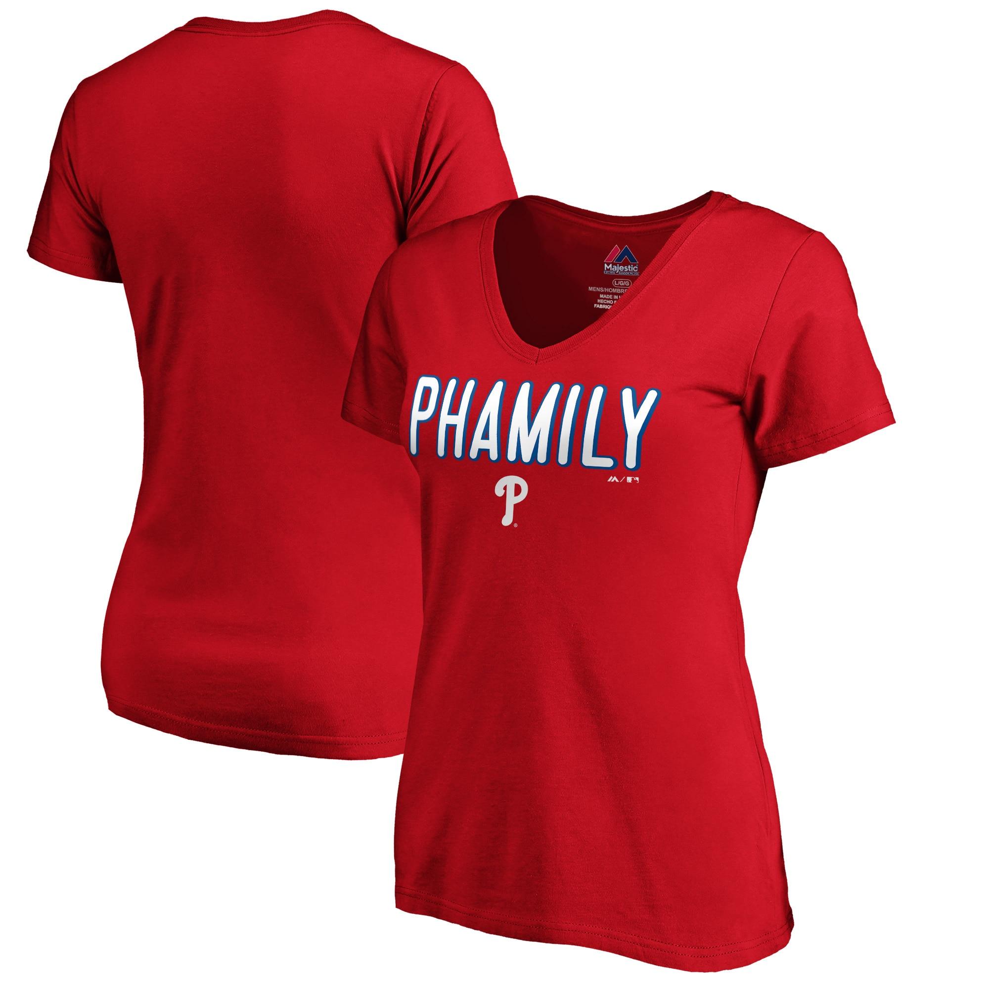 Bryce Harper Philadelphia Phillies Majestic Women's Hometown Philly Pham V-Neck T-Shirt - Red