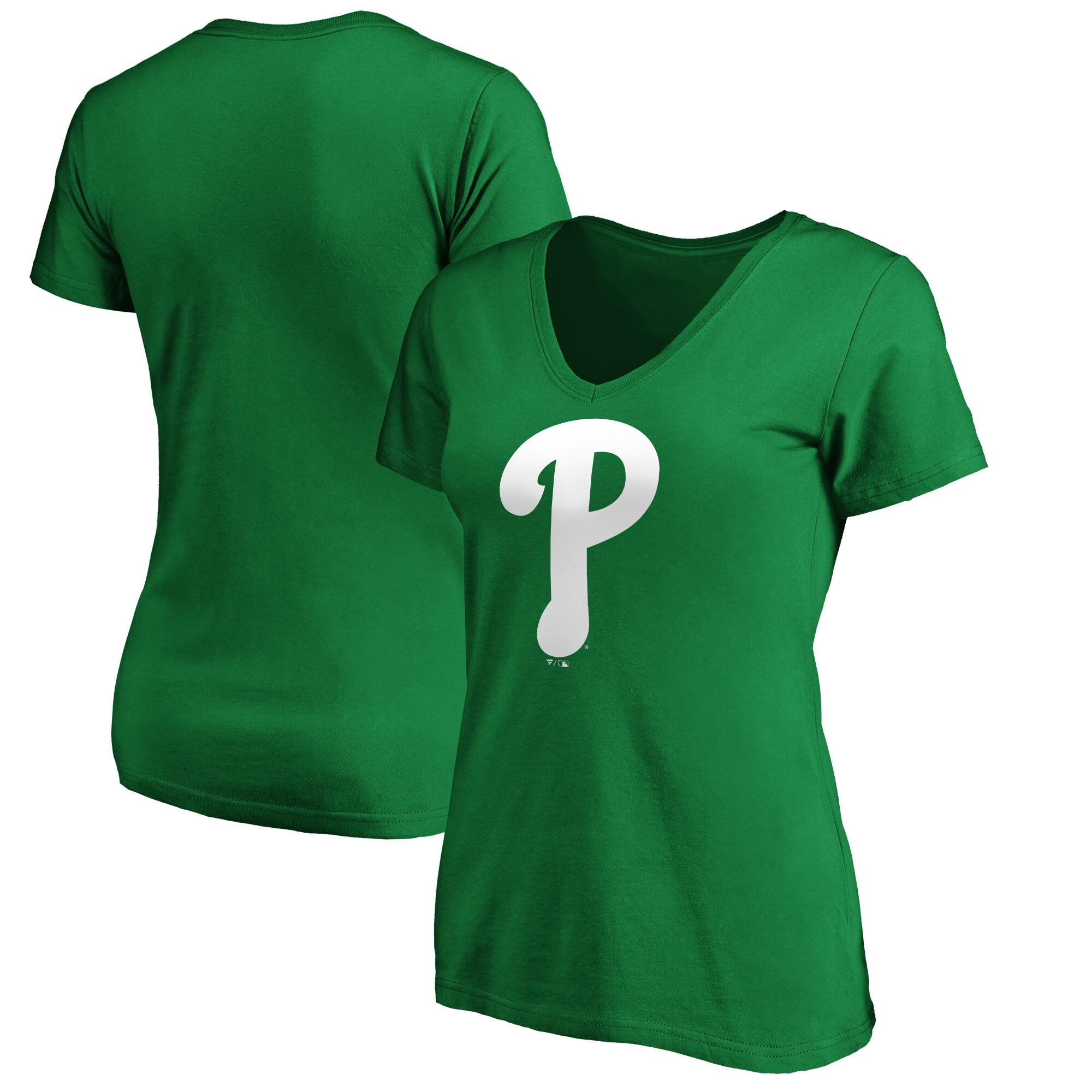 Philadelphia Phillies Fanatics Branded Women's St. Patrick's Day V-Neck T-Shirt - Kelly Green