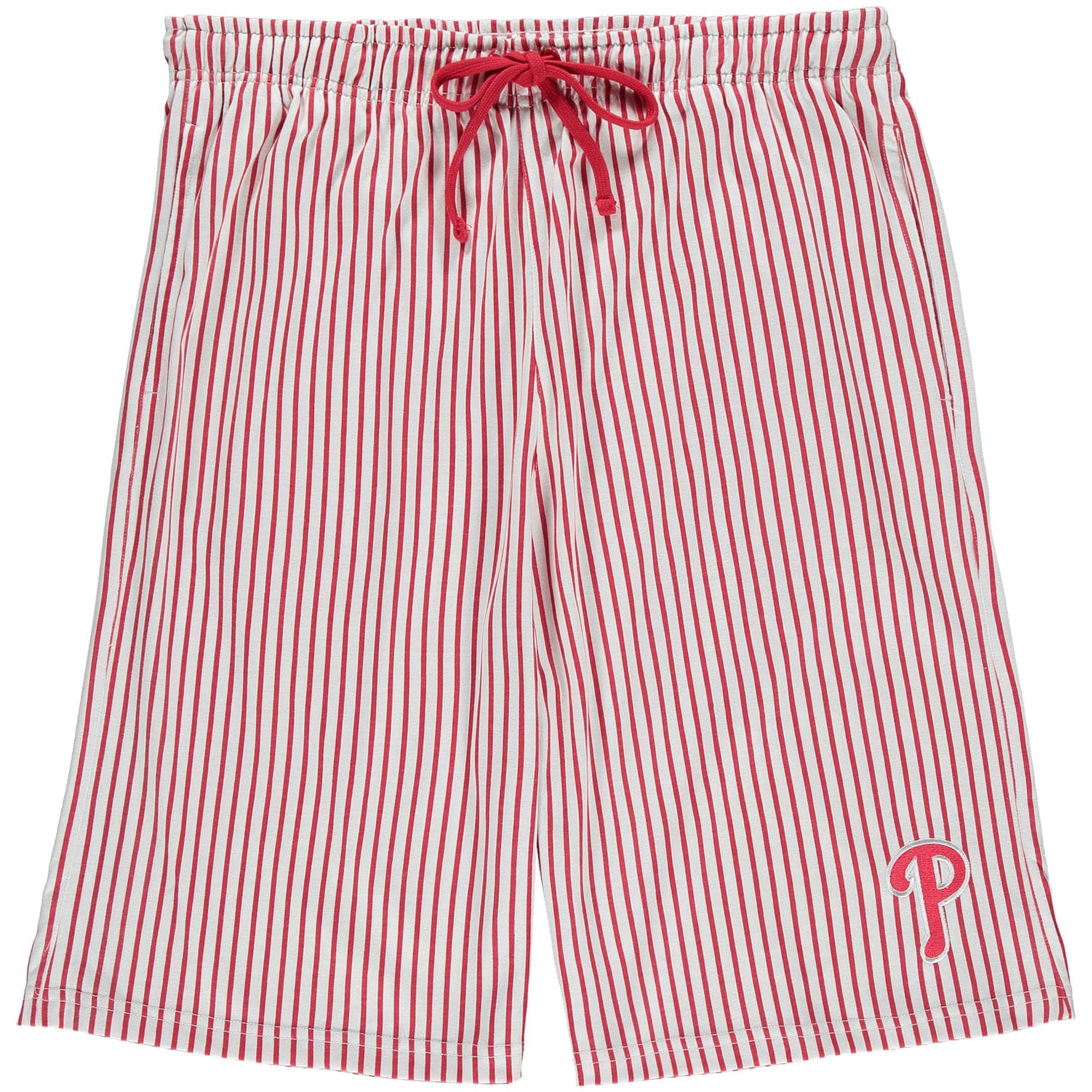 Philadelphia Phillies Big & Tall Pinstripe Shorts - White/Scarlet