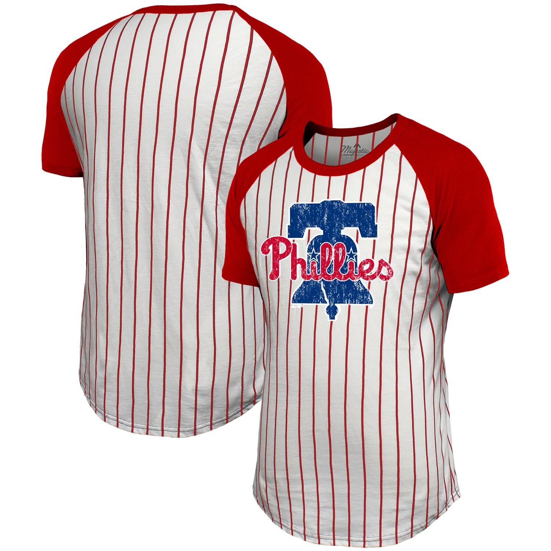 Philadelphia Phillies Majestic Threads Pinstripe Raglan T-Shirt - White/Red