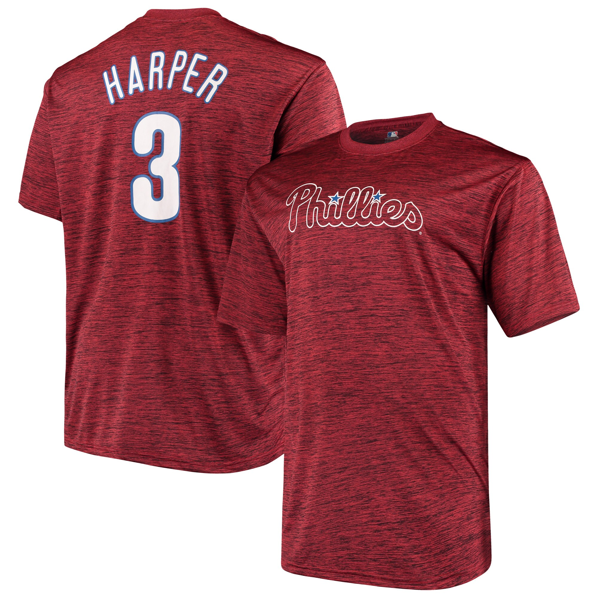 Bryce Harper Philadelphia Phillies Big & Tall Name & Number T-Shirt - Heathered Red