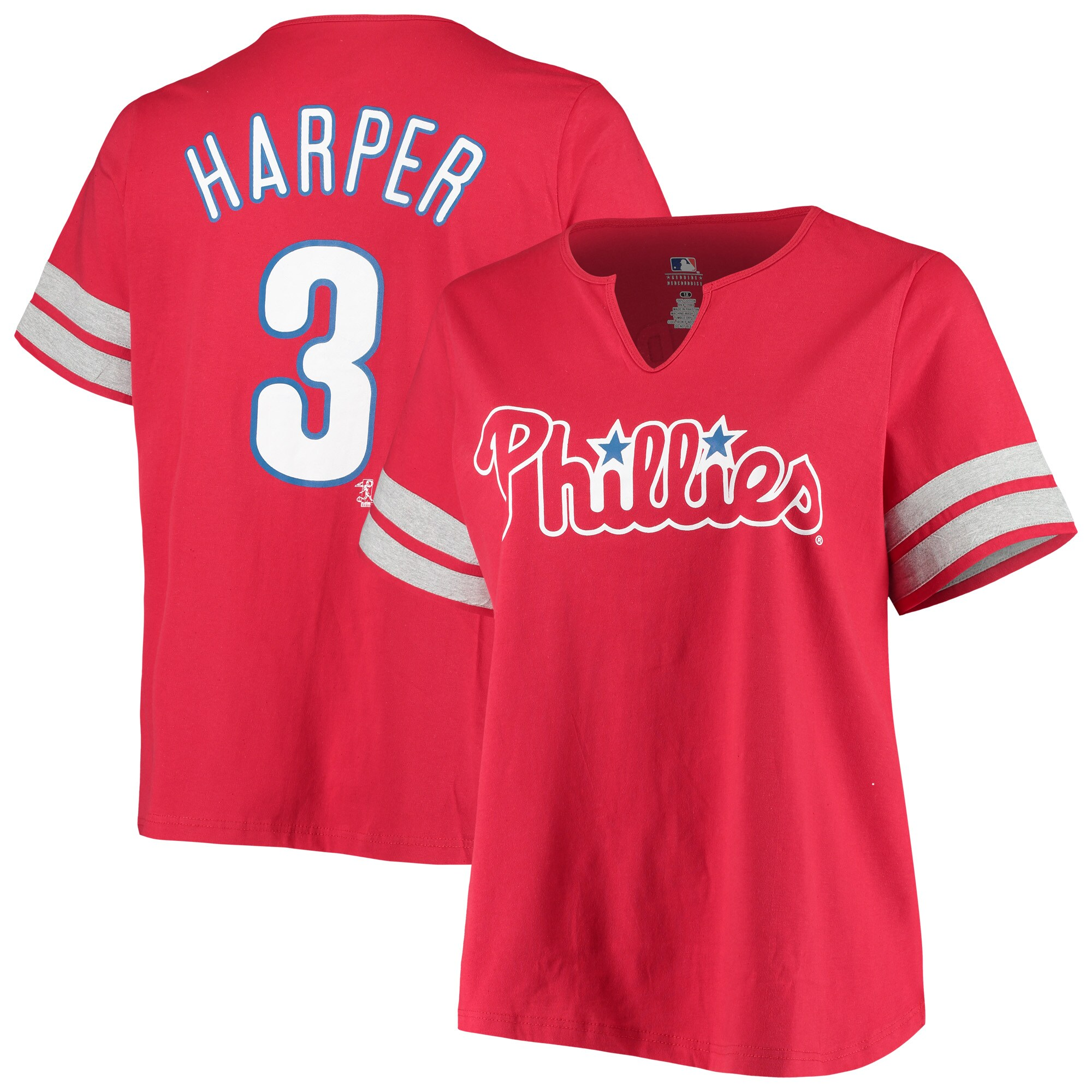 Bryce Harper Philadelphia Phillies Women's Plus Size Notch Neck Name & Number T-Shirt - Red
