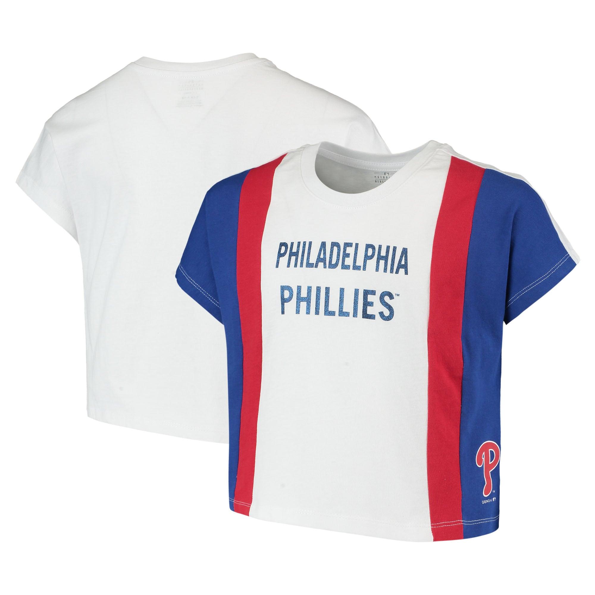 Philadelphia Phillies Girls Youth As If Cropped Boxy T-Shirt - White/Royal