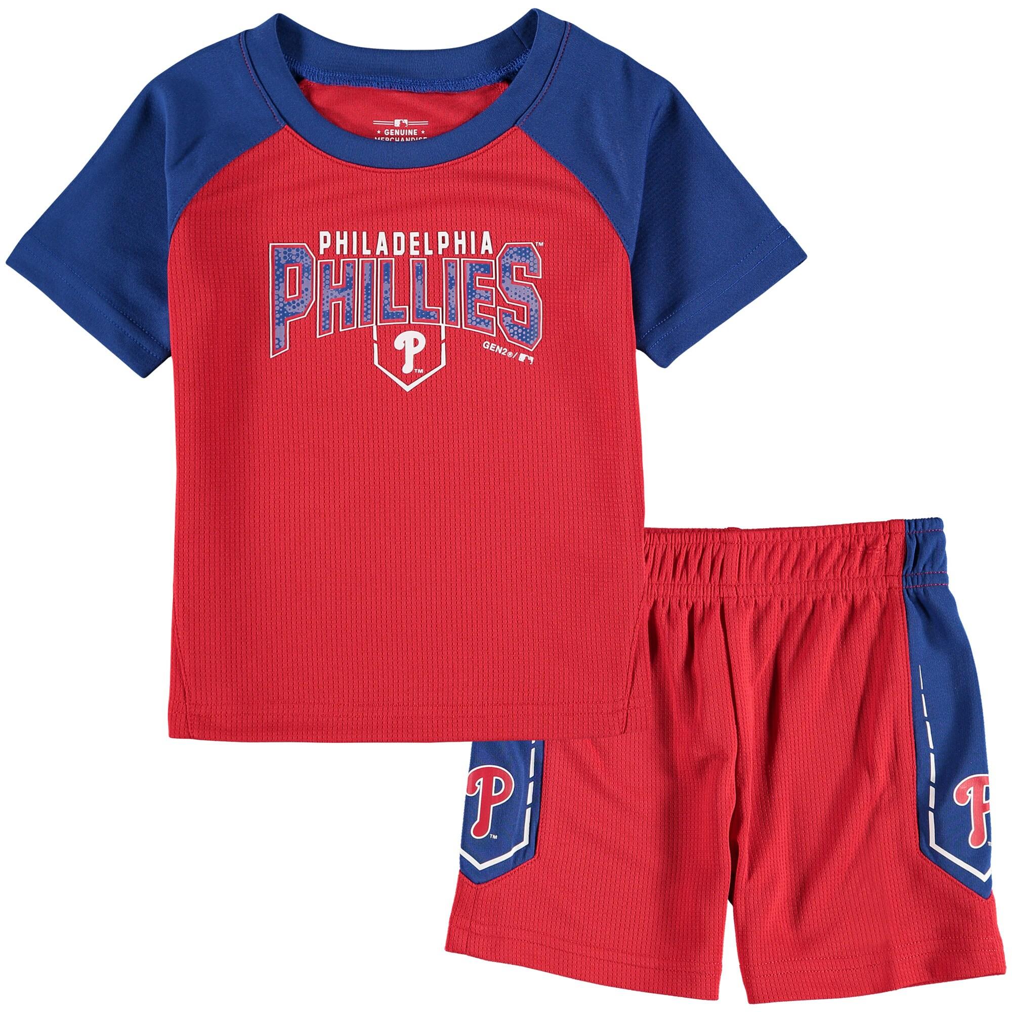 Philadelphia Phillies Infant Follow Through T-Shirt & Shorts Set - Red/Royal
