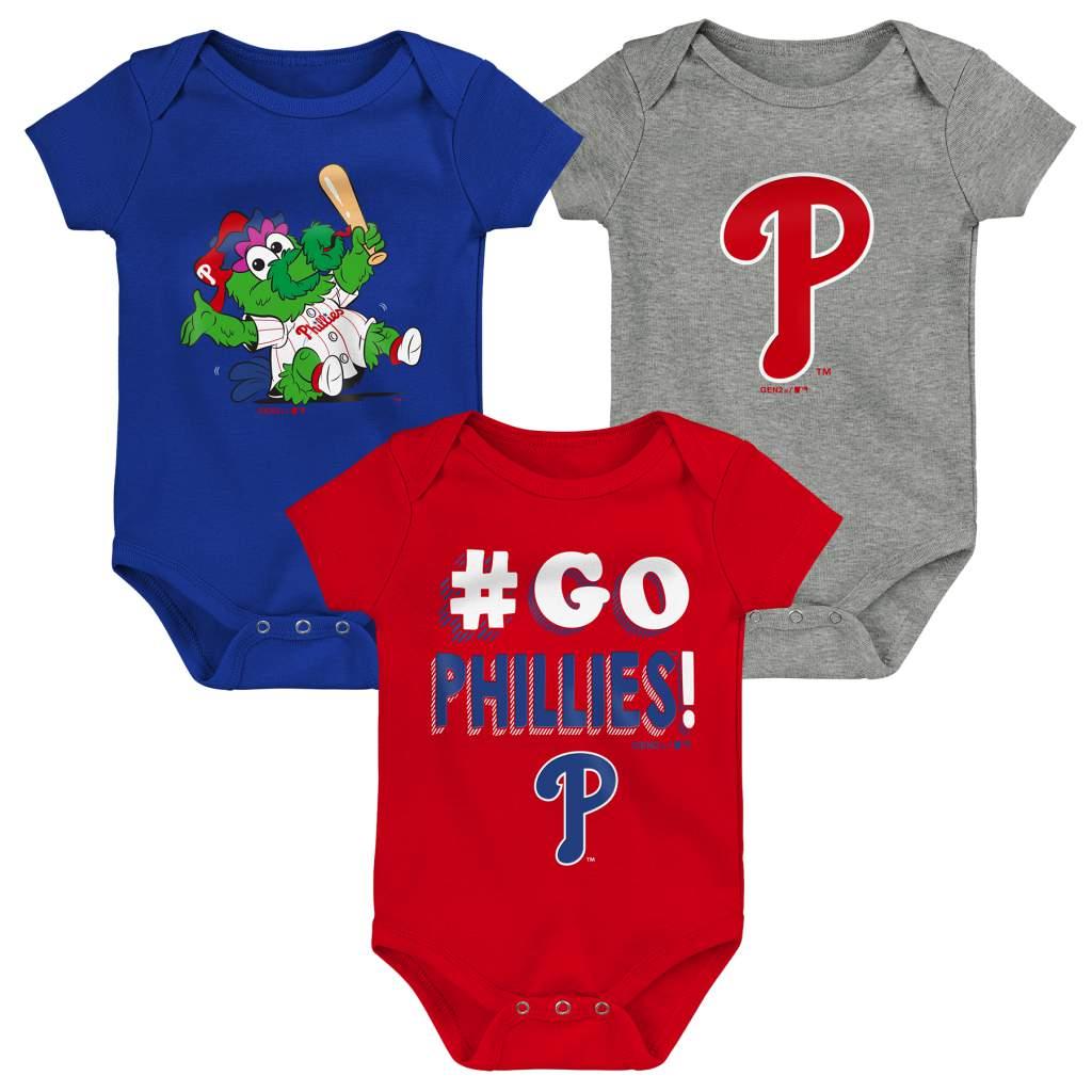 Philadelphia Phillies Newborn & Infant Born To Win 3-Pack Bodysuit Set - Red/Royal/Gray