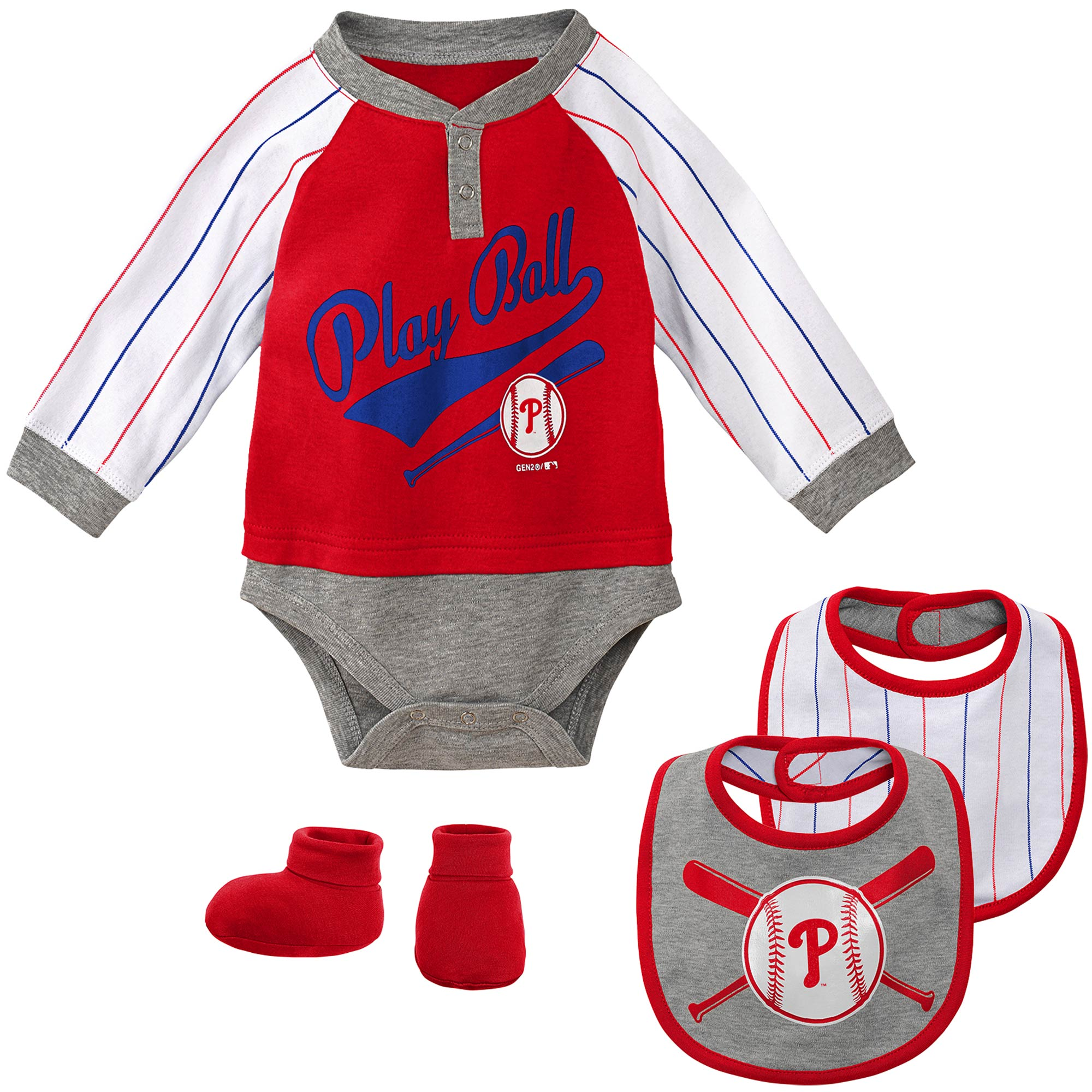 Philadelphia Phillies Newborn & Infant Is It Game Time Yet Bodysuit, Bib & Booties Set - Red