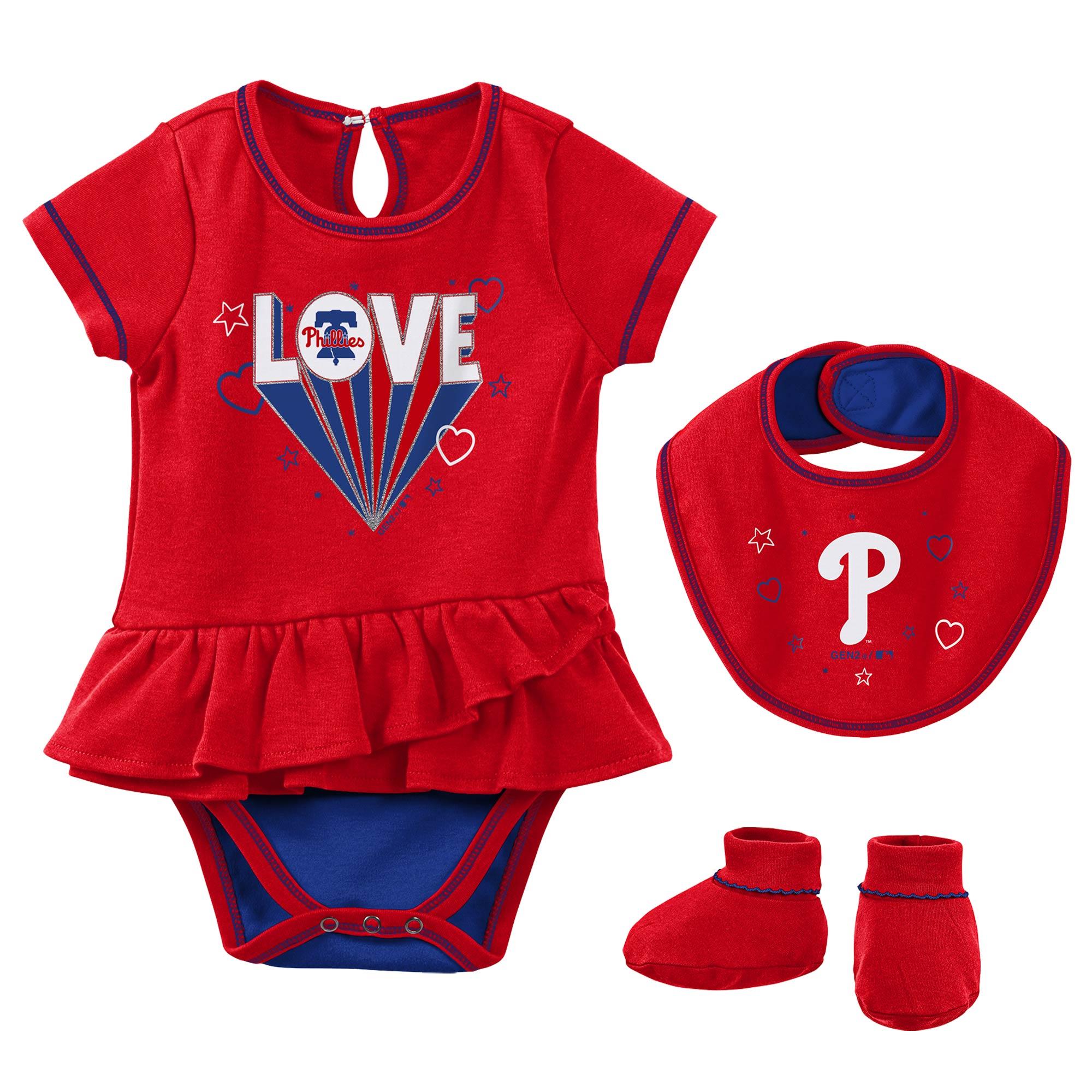 Philadelphia Phillies Girls Newborn & Infant Play Your Best Bodysuit, Bib & Booties Set - Red