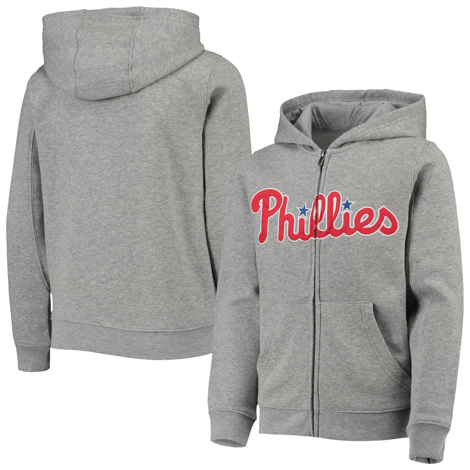Philadelphia Phillies Youth Wordmark Full-Zip Hoodie - Heathered Gray