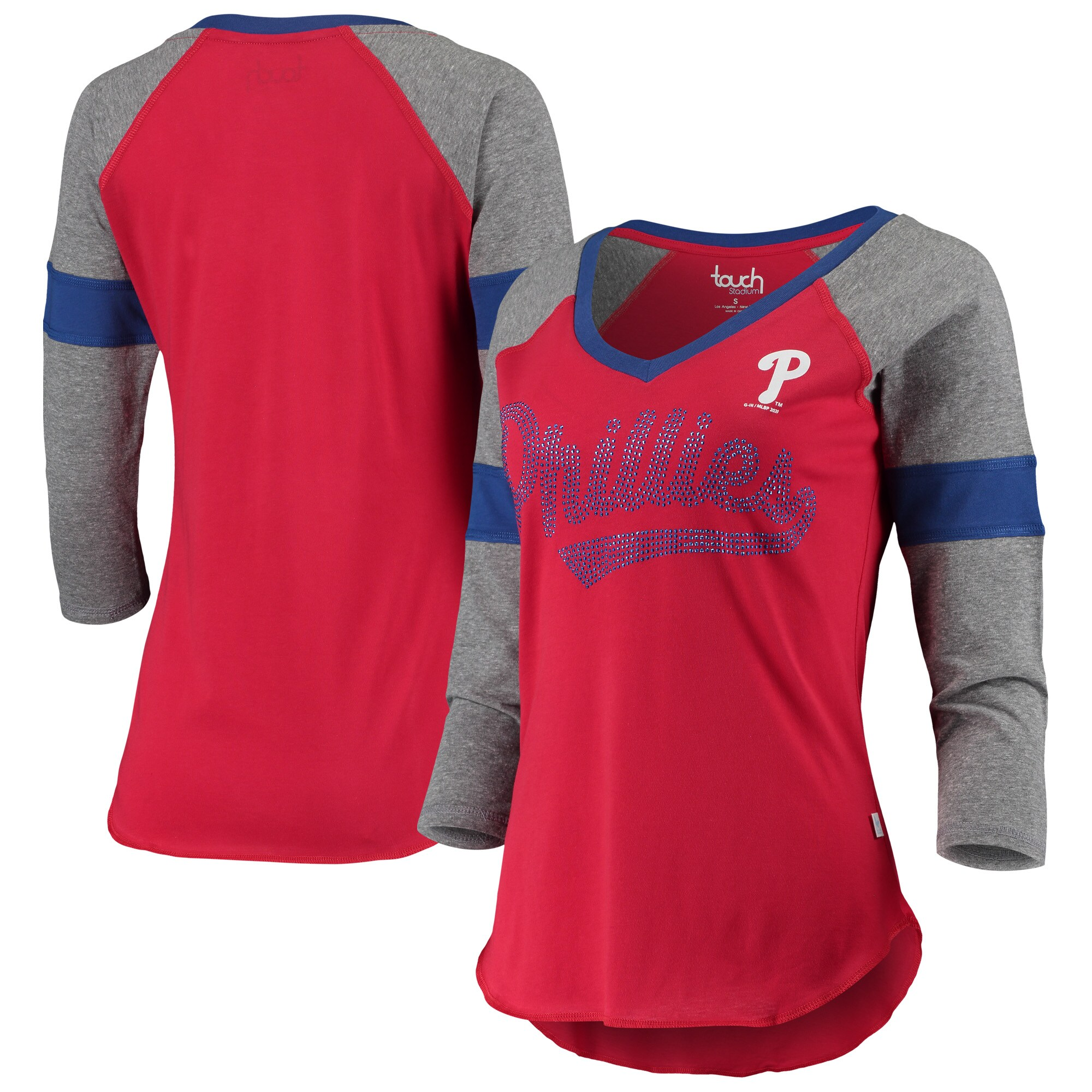 Philadelphia Phillies Touch Women's Fan for Life Raglan V-Neck 3/4-Sleeve T-Shirt - Red/Gray