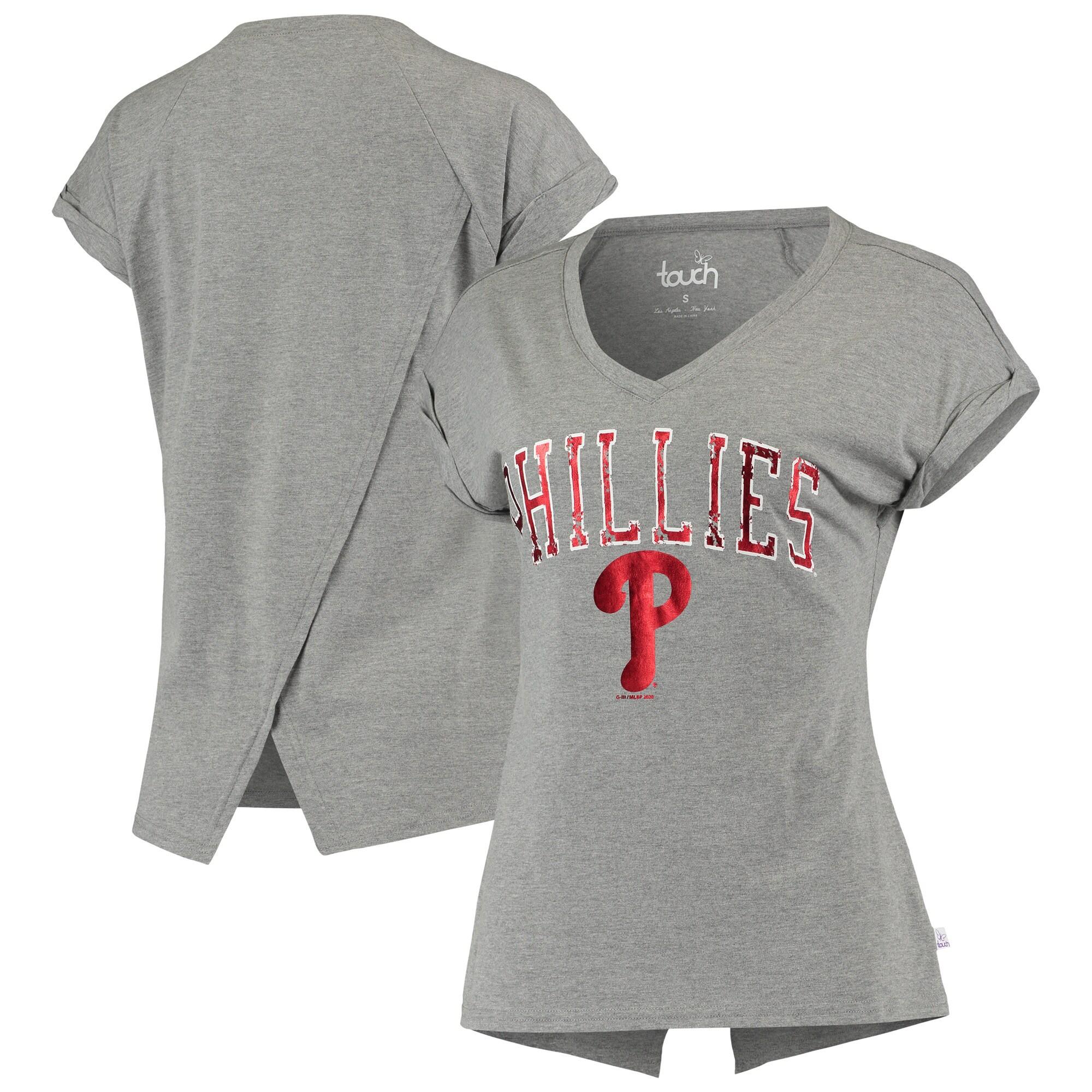 Philadelphia Phillies Touch Women's Power Play V-Neck T-Shirt - Gray