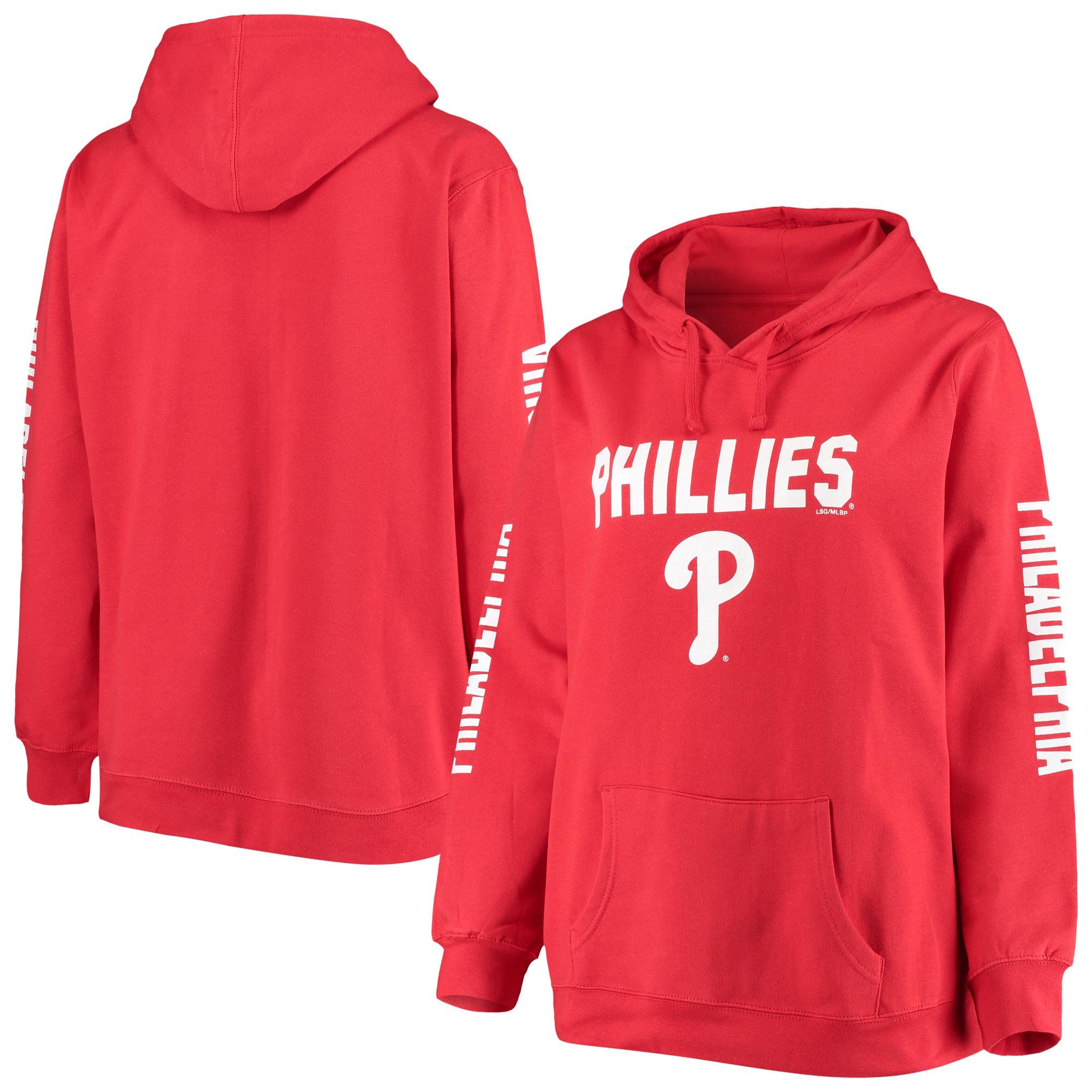 Philadelphia Phillies Women's Plus Size 4-Hit Pullover Hoodie - Red
