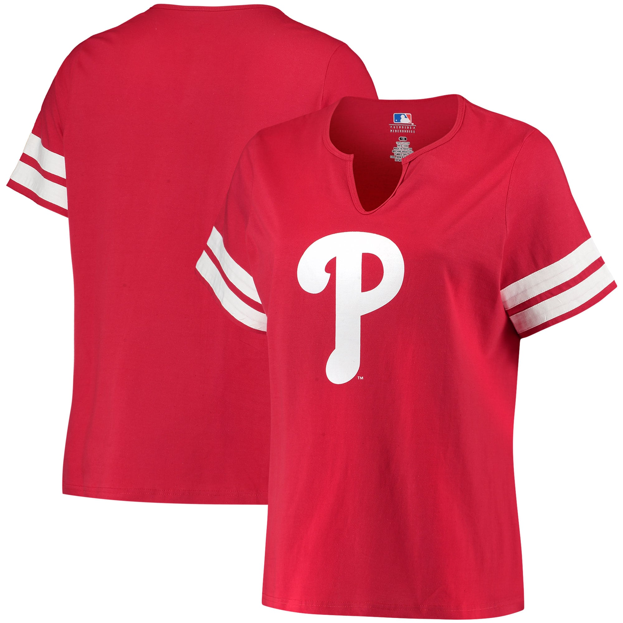 Philadelphia Phillies Women's Plus Size V-Notch T-Shirt - Red/White