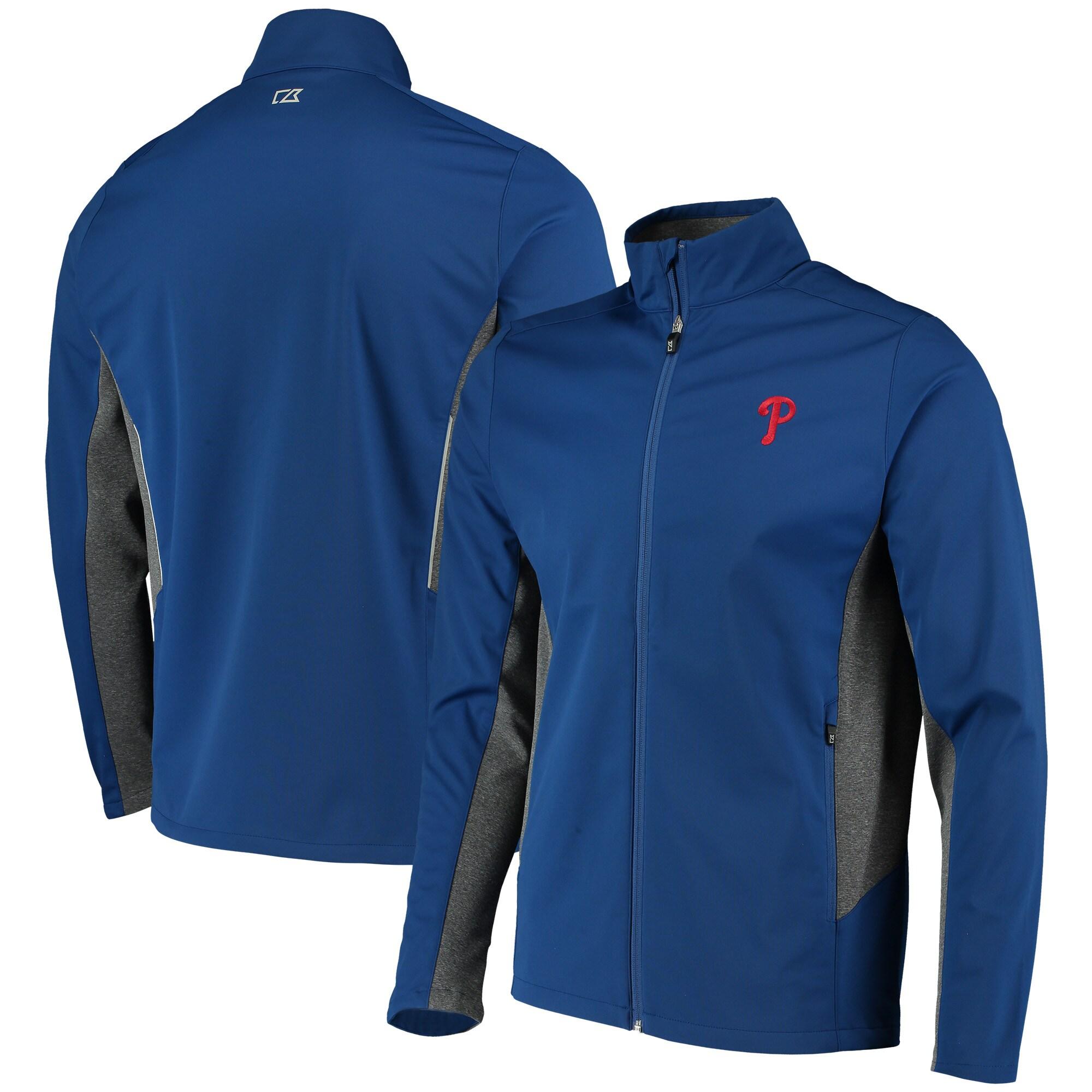 Philadelphia Phillies Cutter & Buck Navigate WeatherTec Full-Zip Jacket - Royal