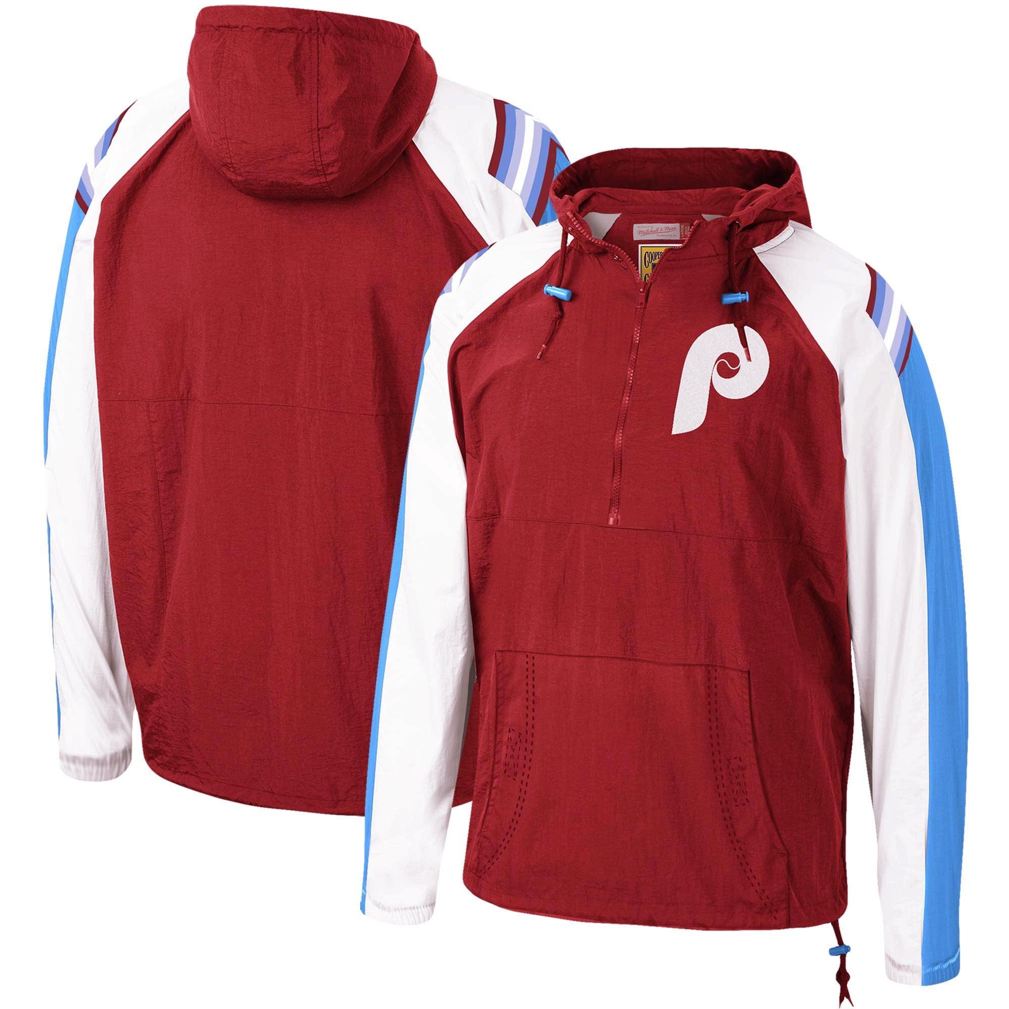 Philadelphia Phillies Mitchell & Ness Anorak Raglan Half-Zip Pullover Hoodie - Burgundy