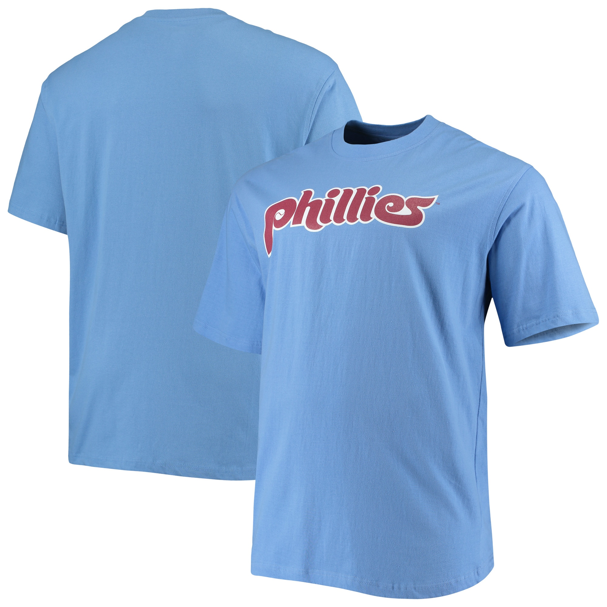 Philadelphia Phillies Big & Tall Cooperstown Collection Wordmark T-Shirt - Light Blue