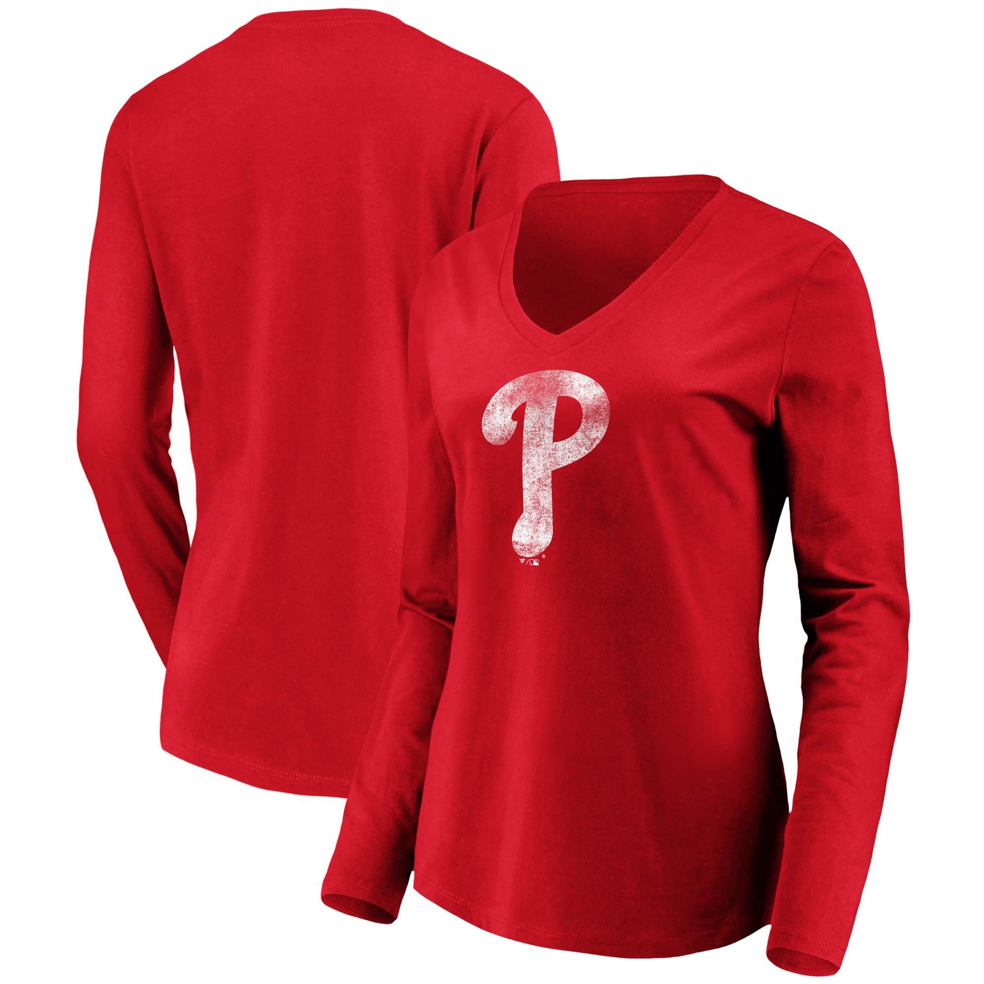 Philadelphia Phillies Fanatics Branded Women's Core Team Long Sleeve V-Neck T-Shirt - Red