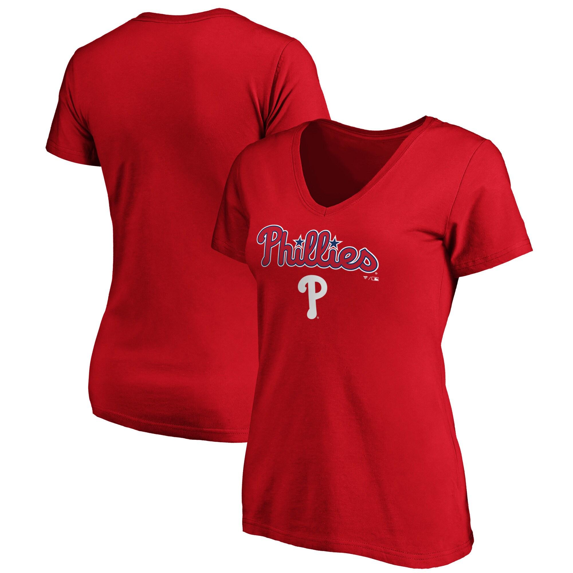 Philadelphia Phillies Fanatics Branded Women's Team Logo Lockup V-Neck T-Shirt - Red
