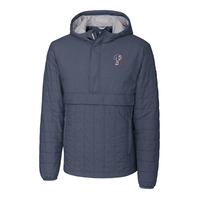 Philadelphia Phillies Cutter & Buck Stars & Stripes Rainier Half-Zip Popover Jacket - Gray