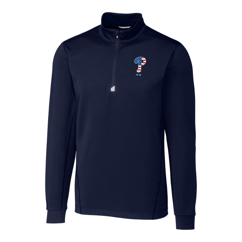 Philadelphia Phillies Cutter & Buck Stars & Stripes Traverse Half-Zip Pullover Jacket - Navy