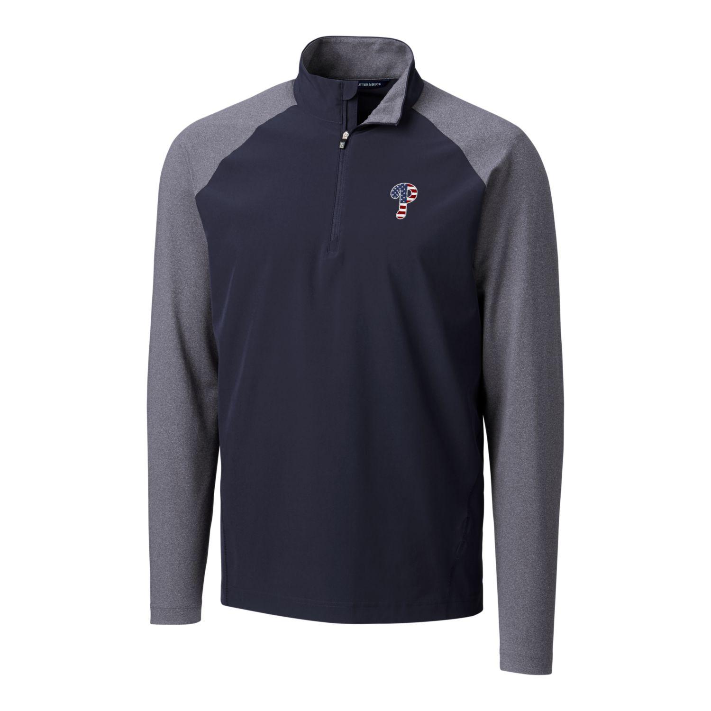 Philadelphia Phillies Cutter & Buck Stars & Stripes Hybrid Overknit Quarter-Zip Pullover Jacket - Navy