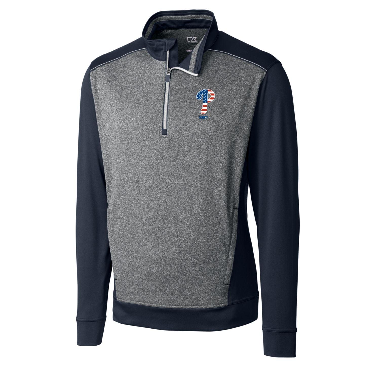 Philadelphia Phillies Cutter & Buck Stars & Stripes Replay Half-Zip Pullover Jacket - Navy