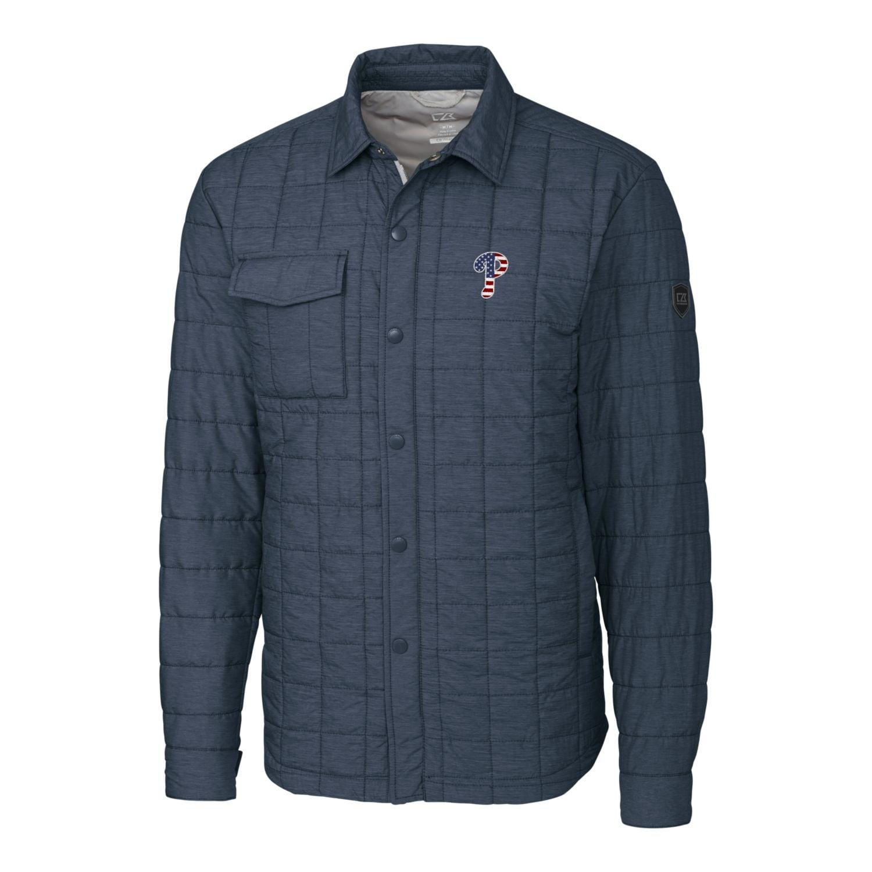 Philadelphia Phillies Cutter & Buck Stars & Stripes Full-Zip Rainier Shirt Jacket - Gray