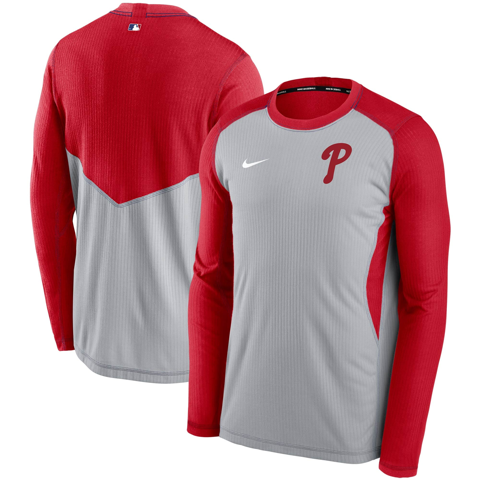 Philadelphia Phillies Nike Authentic Collection Game Performance Sweatshirt - Red/Gray