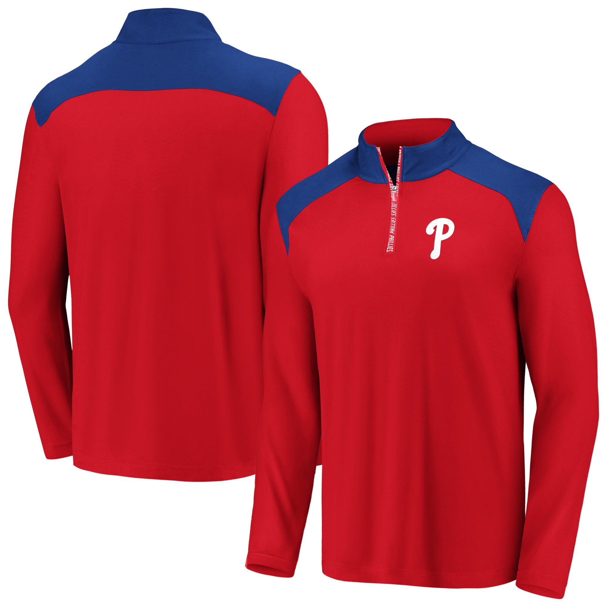 Philadelphia Phillies Fanatics Branded Iconic Clutch Quarter-Zip Pullover Jacket - Red/Royal