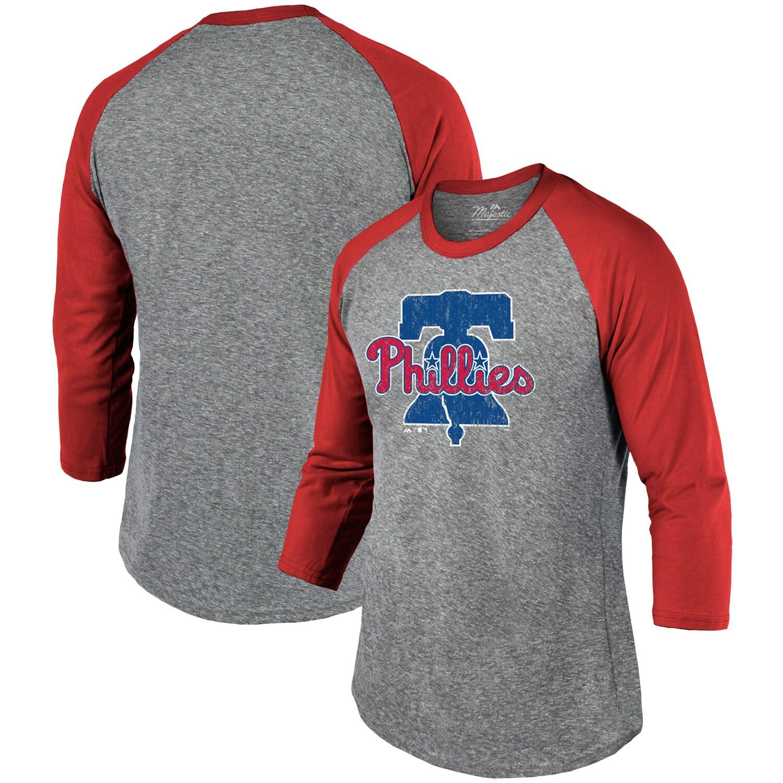 Philadelphia Phillies Majestic Threads Current Logo Tri-Blend 3/4-Sleeve Raglan T-Shirt - Heathered Gray/Red