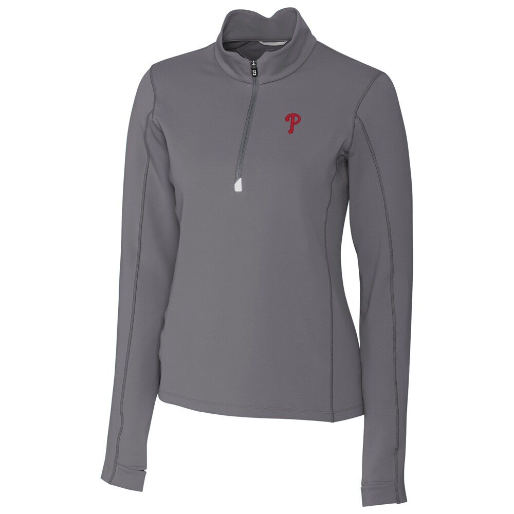 Philadelphia Phillies Cutter & Buck Women's Traverse Half-Zip Pullover Jacket - Gray
