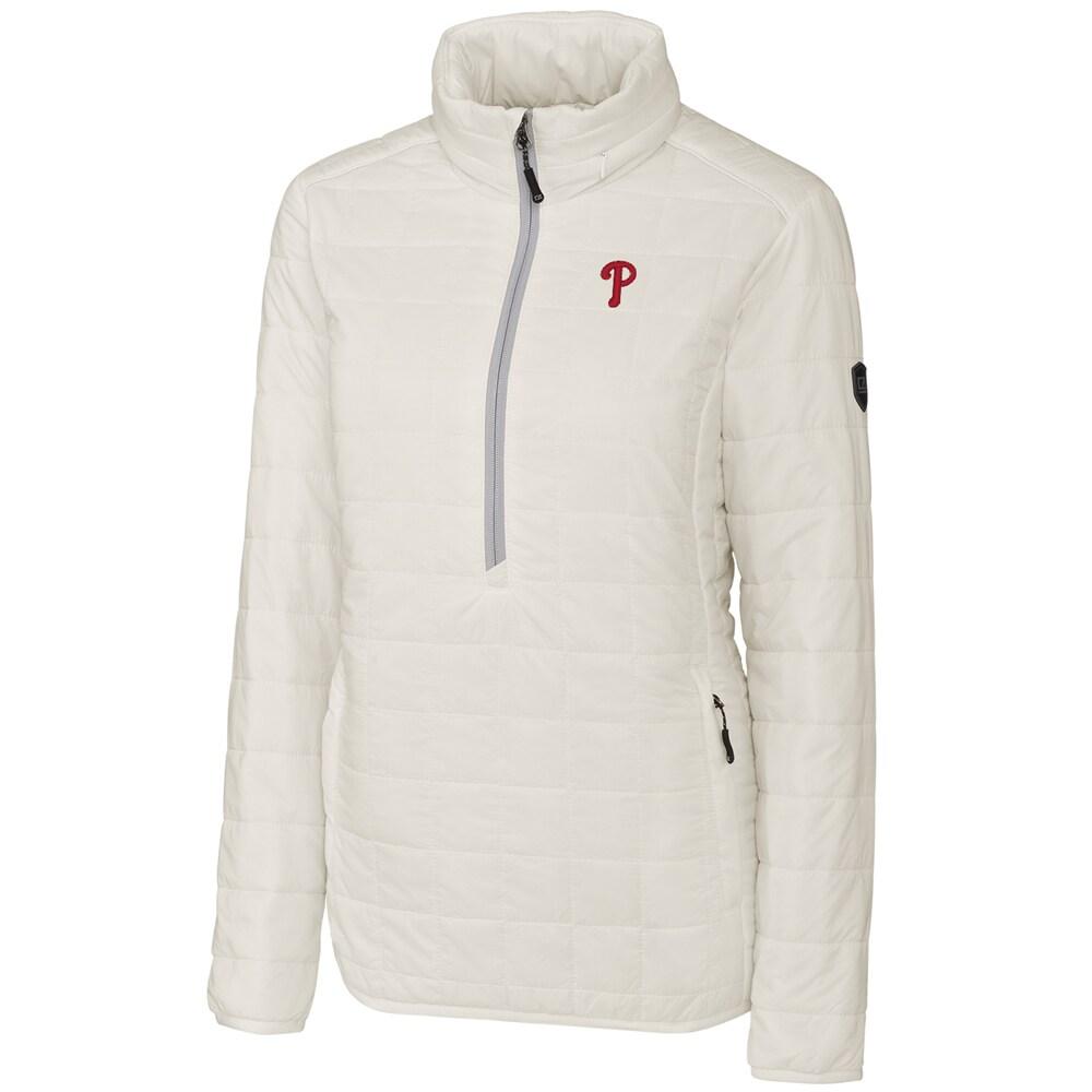 Philadelphia Phillies Cutter & Buck Women's Rainier Half-Zip Popover Jacket - White