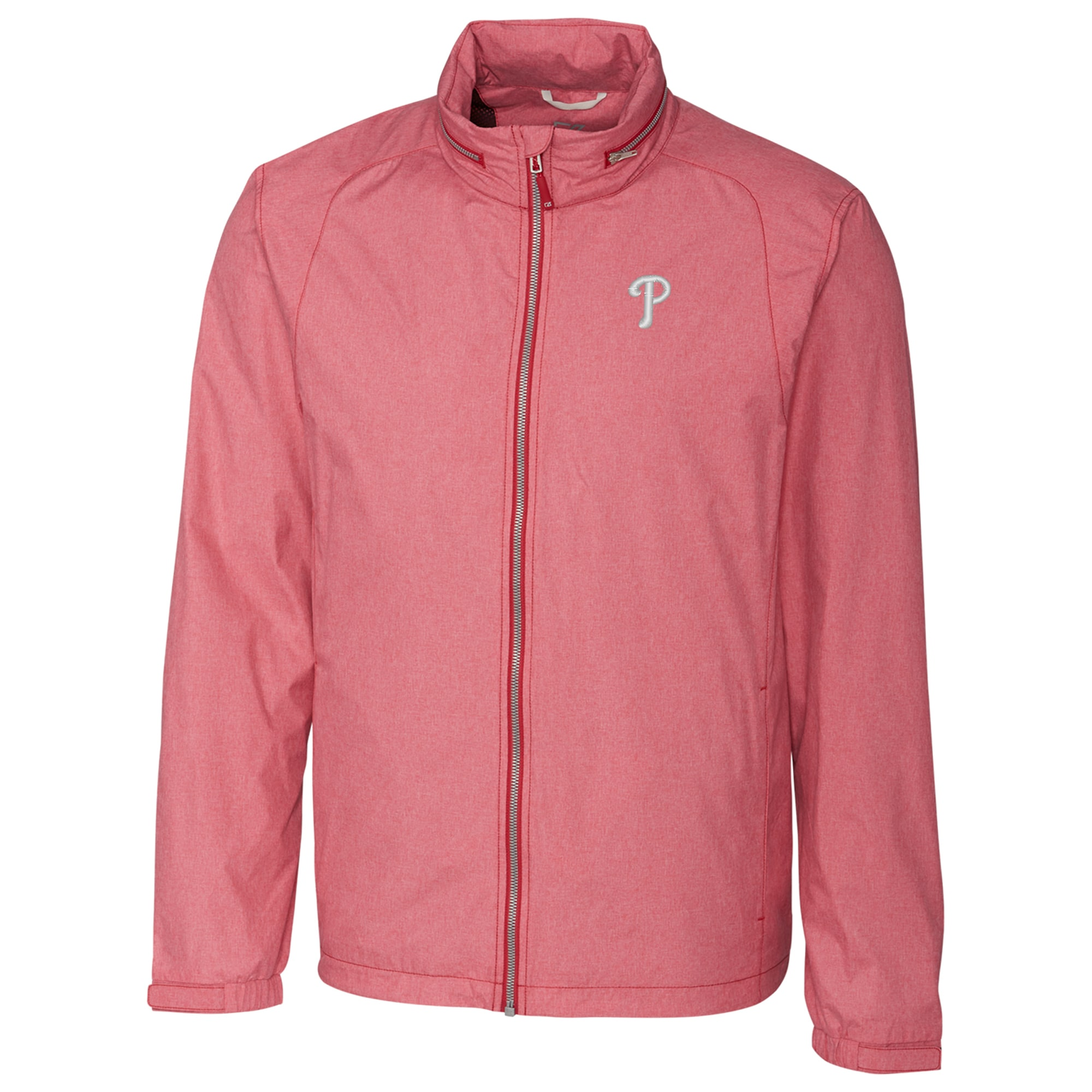 Philadelphia Phillies Cutter & Buck Panoramic Packable Full-Zip Jacket - Heather Red