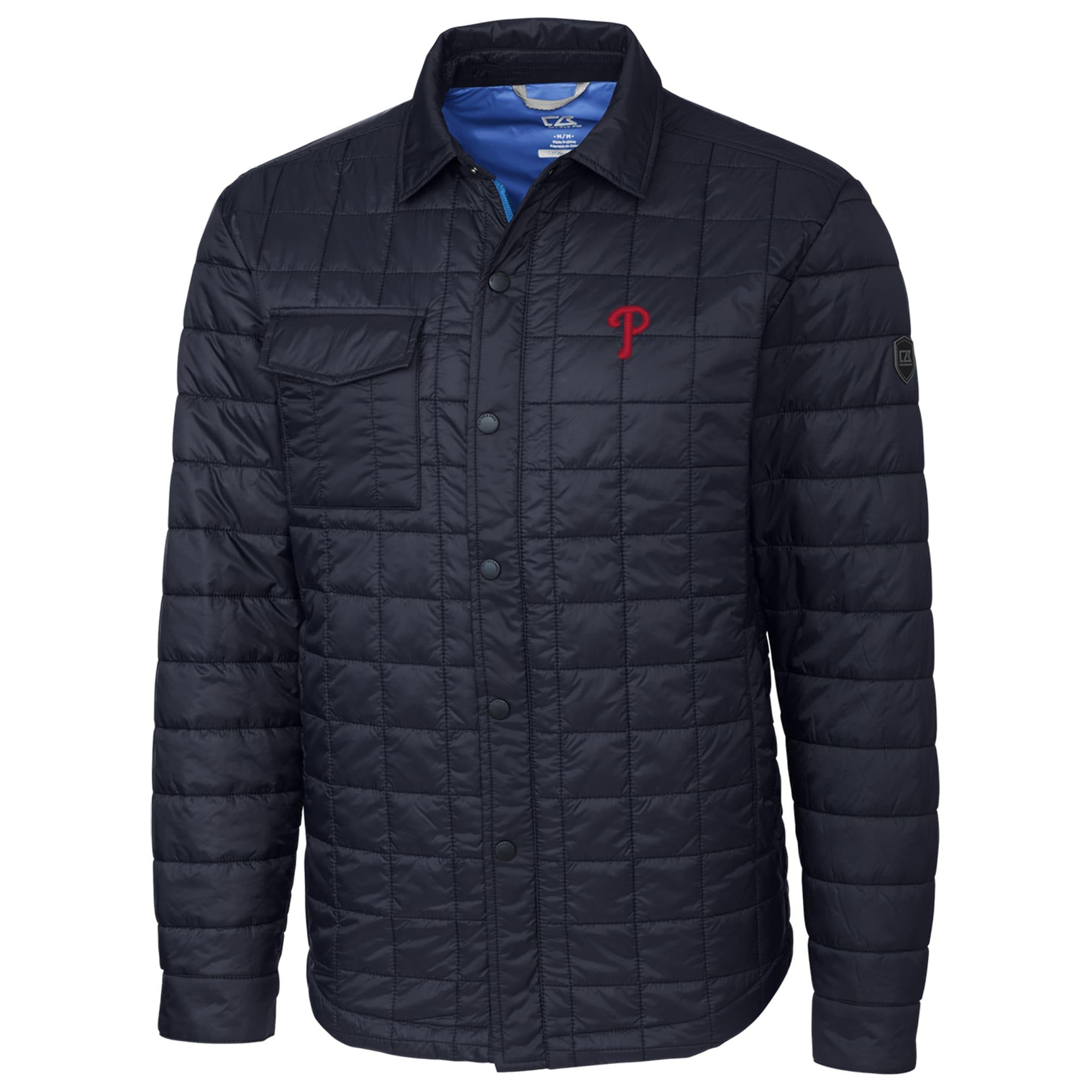 Philadelphia Phillies Cutter & Buck Rainier Shirt Full-Zip Jacket - Navy