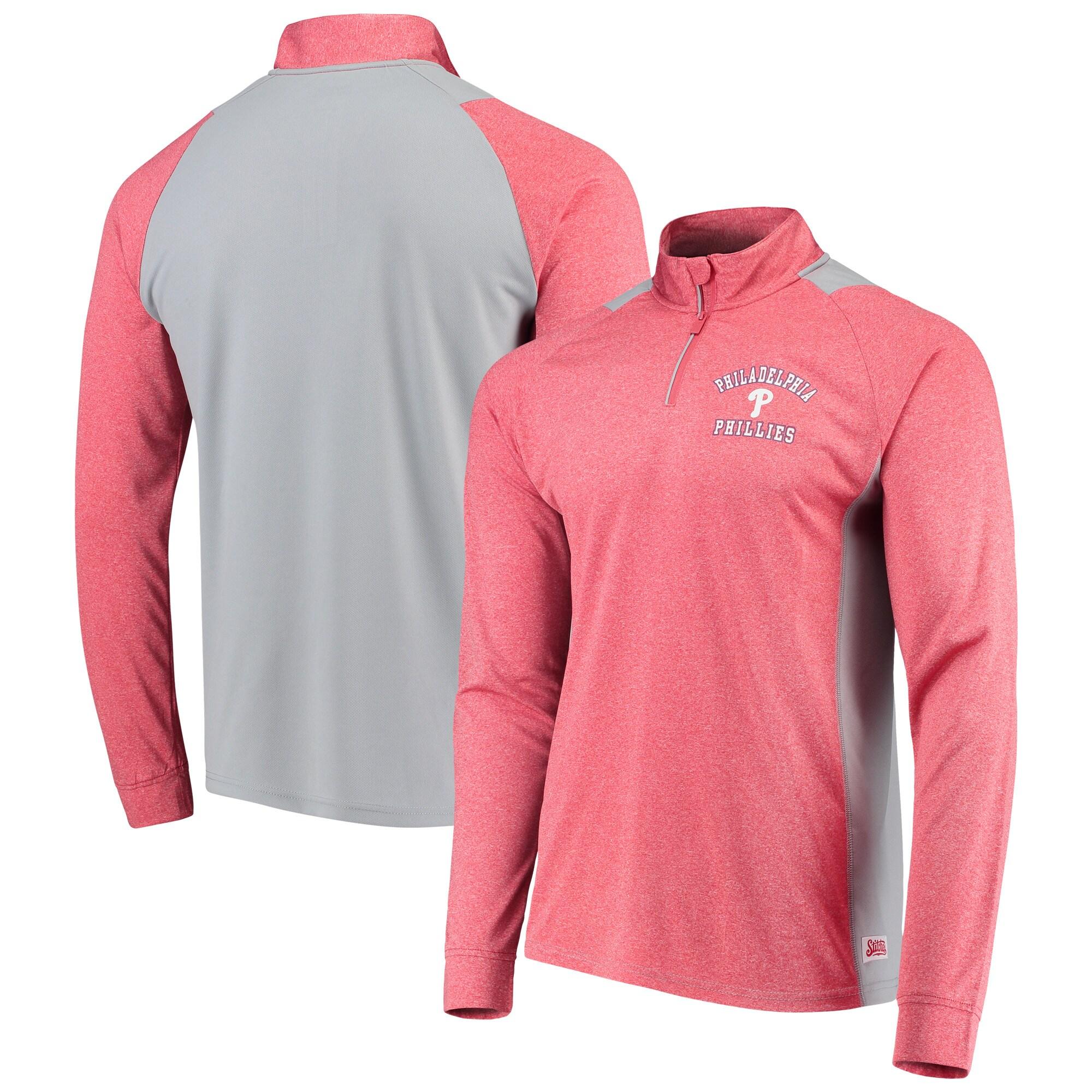 Philadelphia Phillies Stitches Raglan Sleeve Quarter-Zip Pullover Jacket - Heathered Red/Gray