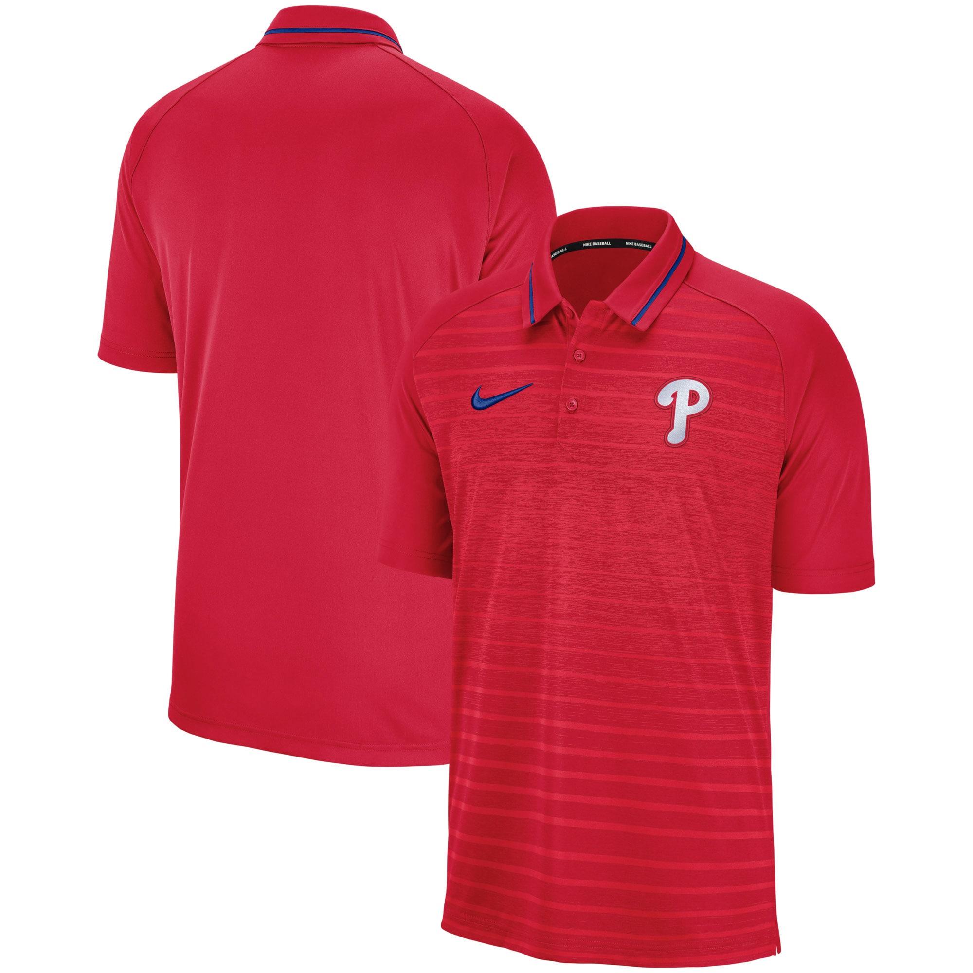 Philadelphia Phillies Nike Game Stripe Raglan Sleeve Polo - Red
