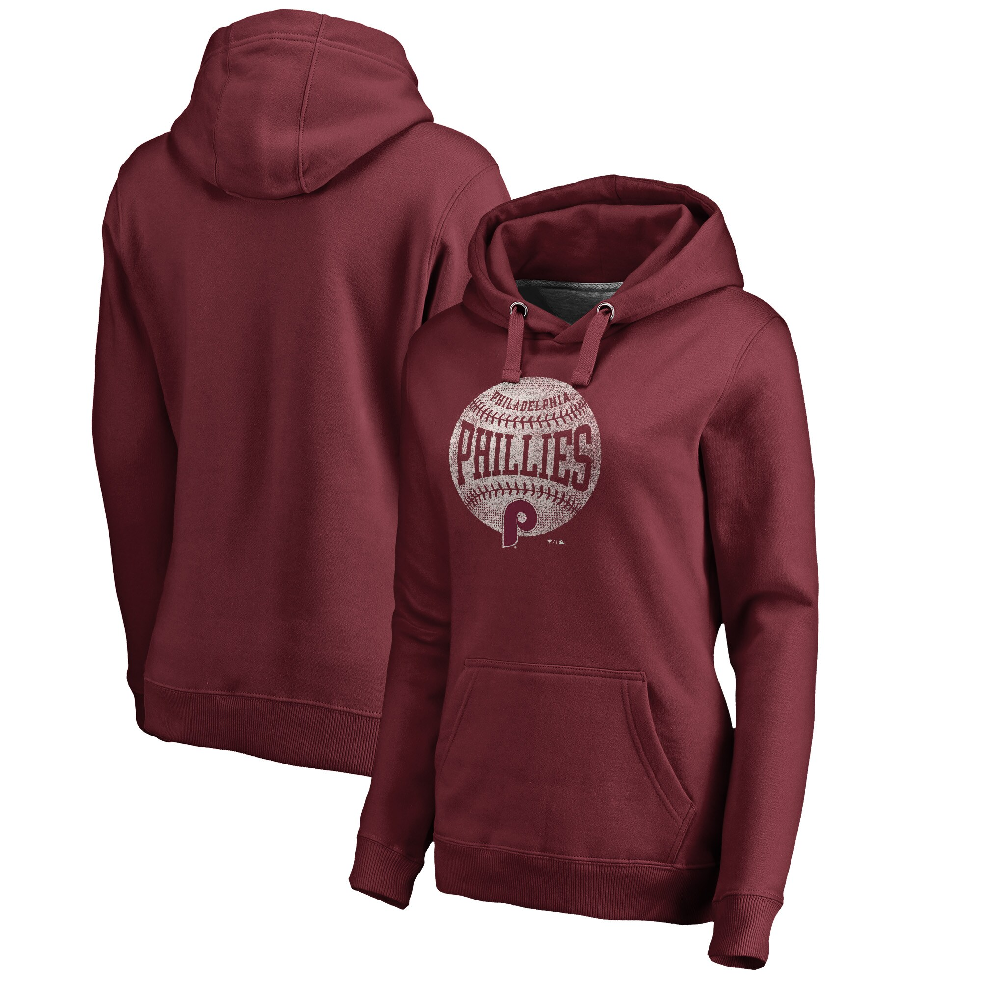 Philadelphia Phillies Fanatics Branded Women's Cooperstown Collection Slider Plus Size Pullover Hoodie - Maroon