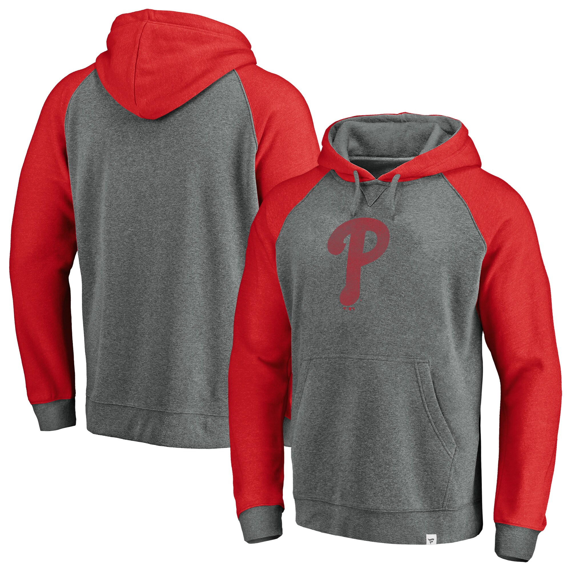 Philadelphia Phillies Fanatics Branded Team Logo Tri-Blend Pullover Hoodie - Gray/Red