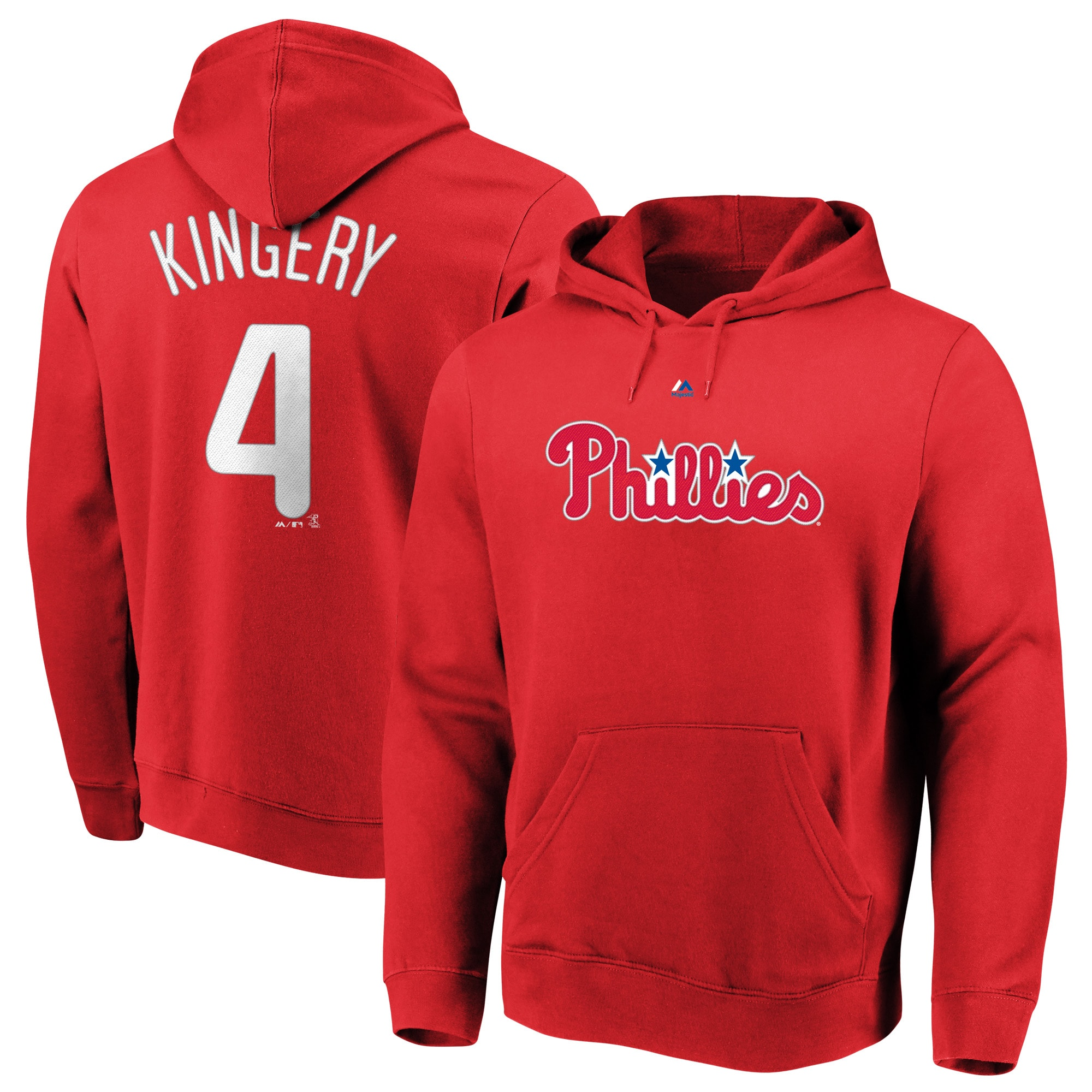 Scott Kingery Philadelphia Phillies Majestic Authentic Name & Number Pullover Hoodie - Red